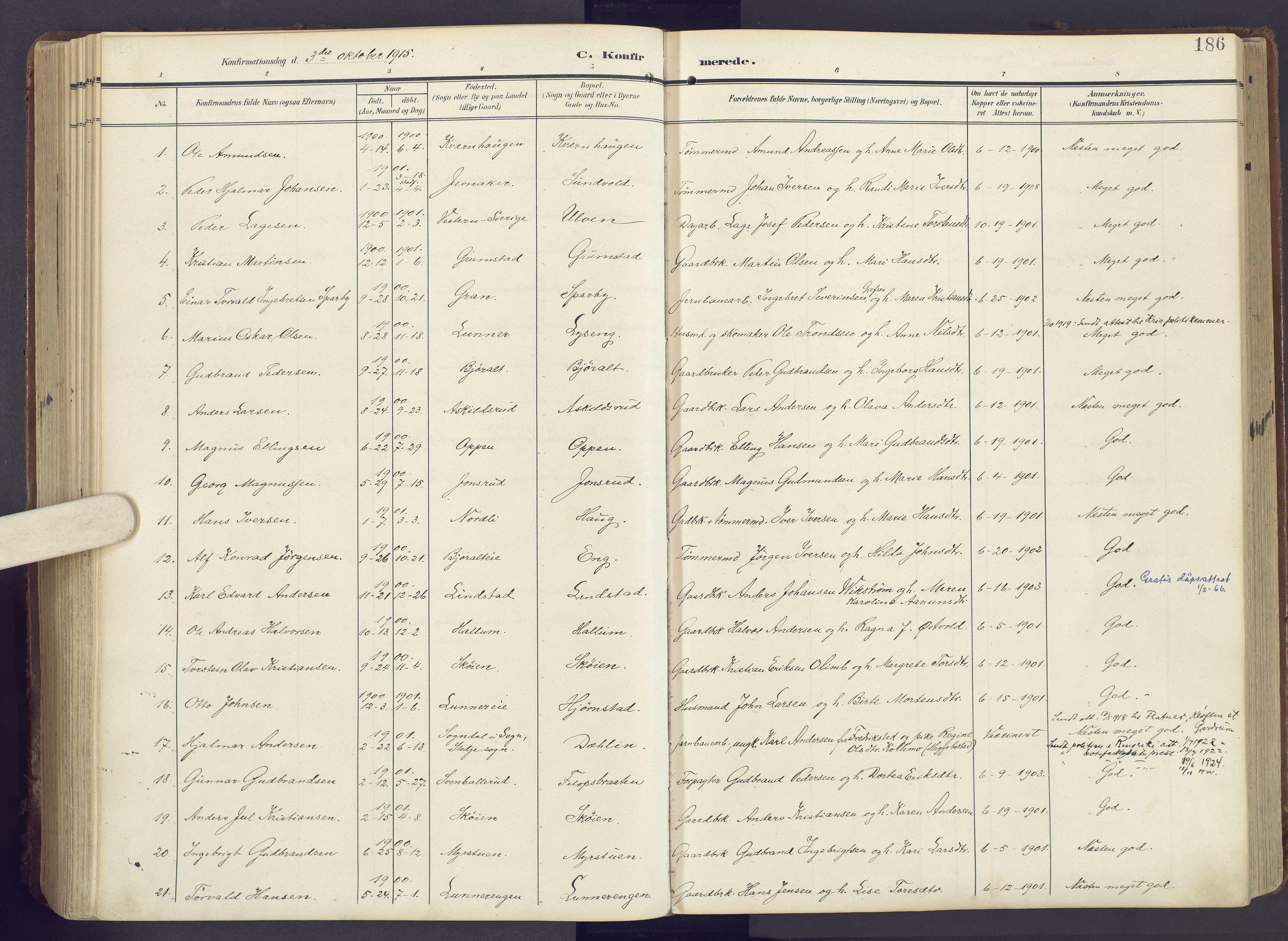 SAH, Lunner prestekontor, H/Ha/Haa/L0001: Ministerialbok nr. 1, 1907-1922, s. 186