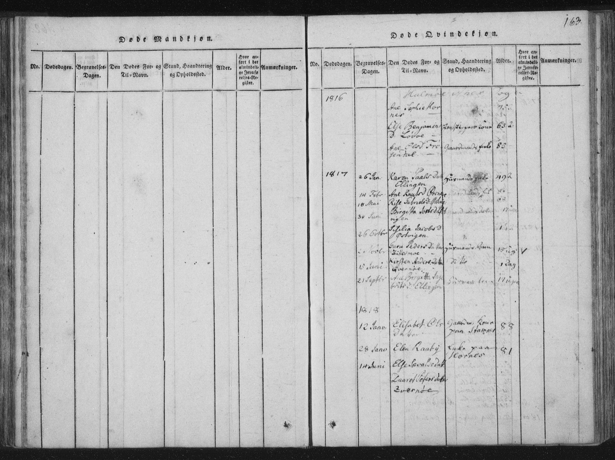 SAT, Ministerialprotokoller, klokkerbøker og fødselsregistre - Nord-Trøndelag, 773/L0609: Ministerialbok nr. 773A03 /3, 1815-1830, s. 163