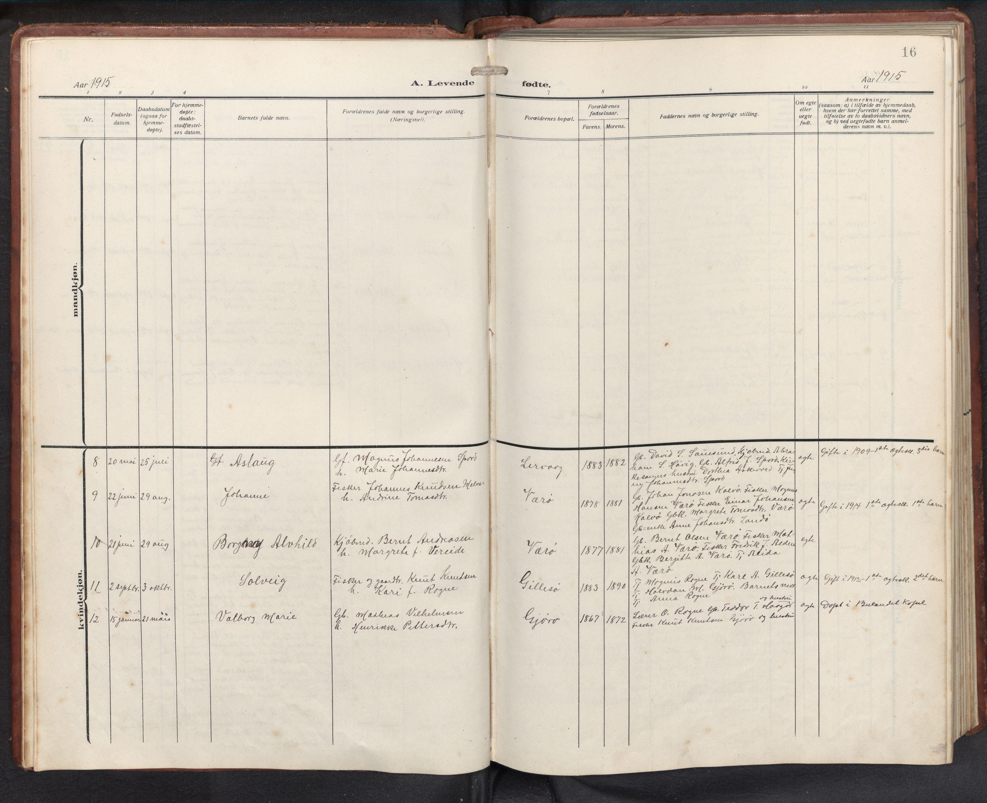 SAB, Askvoll sokneprestembete, H/Hab/Habb/L0002: Klokkerbok nr. B 2, 1910-1947, s. 15b-16a