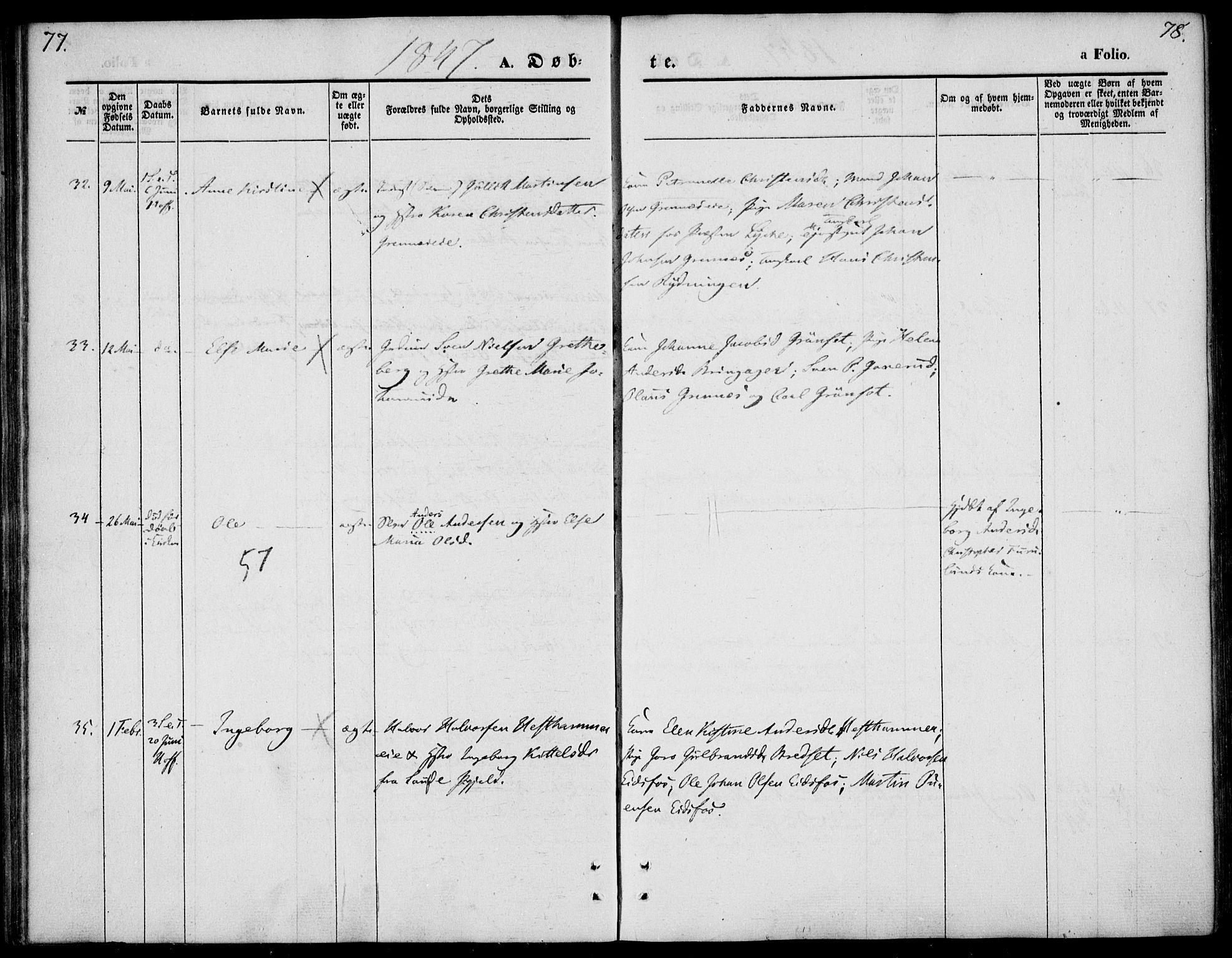 SAKO, Hof kirkebøker, F/Fa/L0005: Ministerialbok nr. I 5, 1844-1851, s. 77-78
