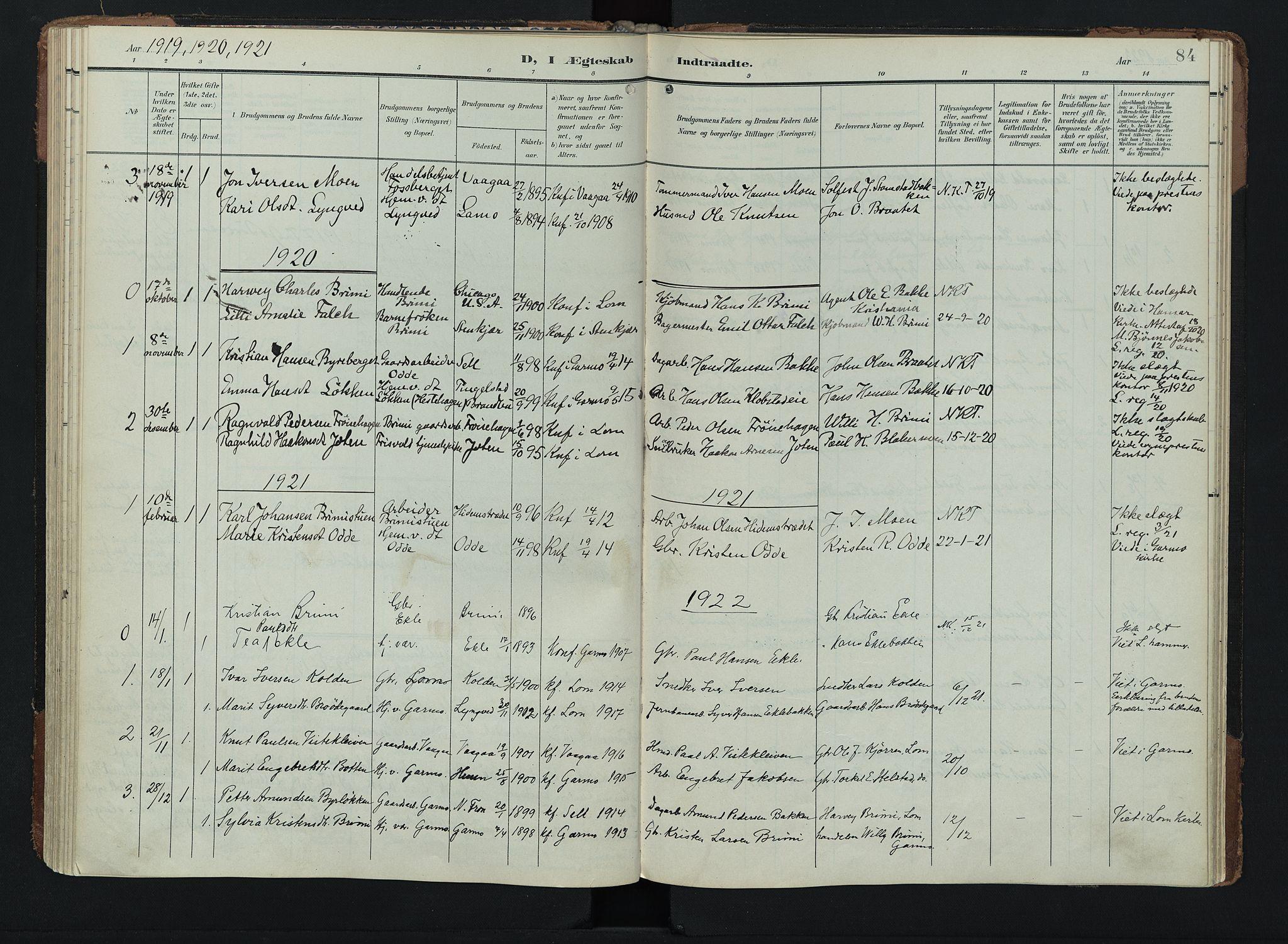 SAH, Lom prestekontor, K/L0011: Ministerialbok nr. 11, 1904-1928, s. 84
