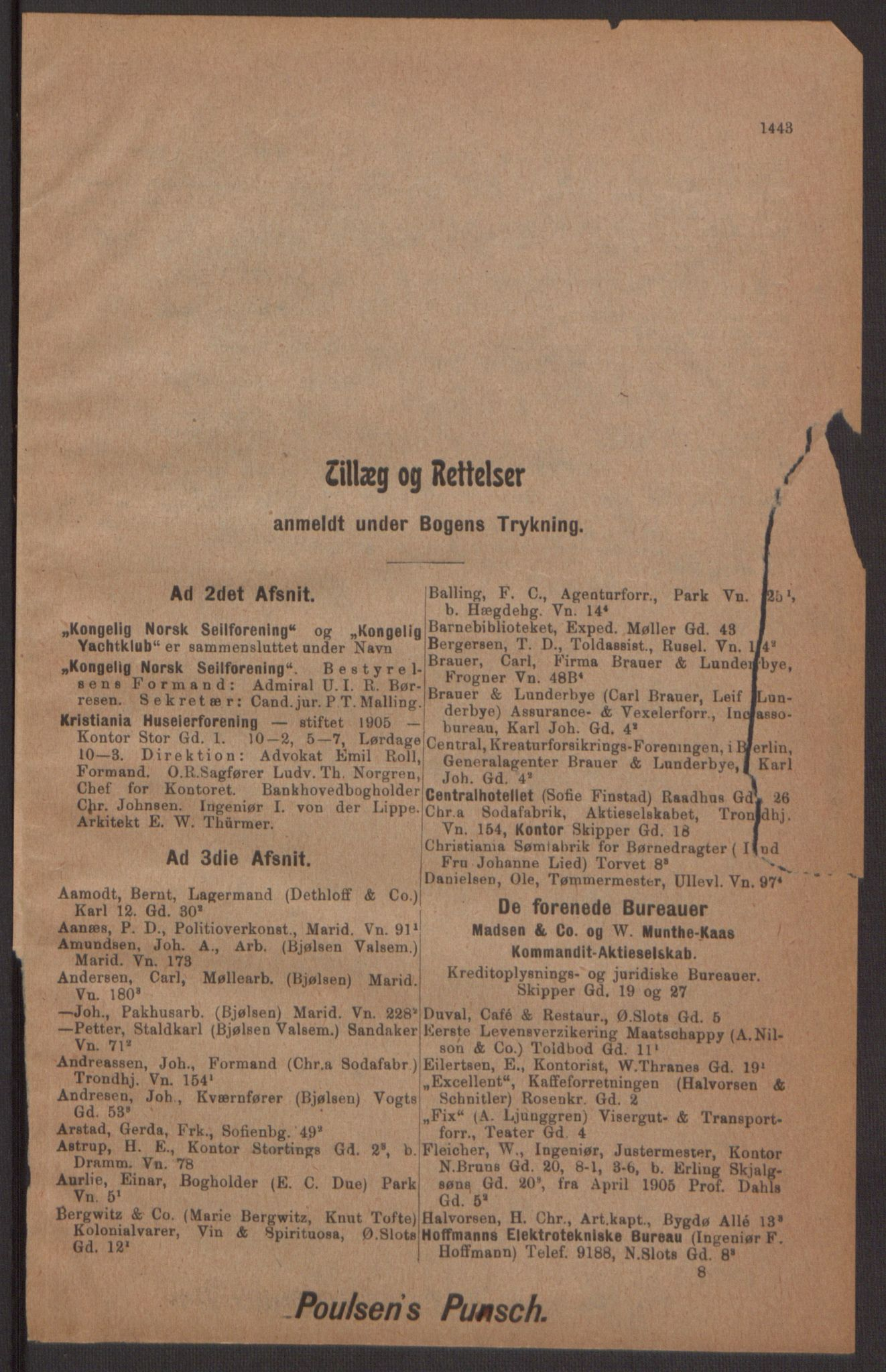 RA, Kristiania adressebok (publikasjon)*, 1905, s. 1443