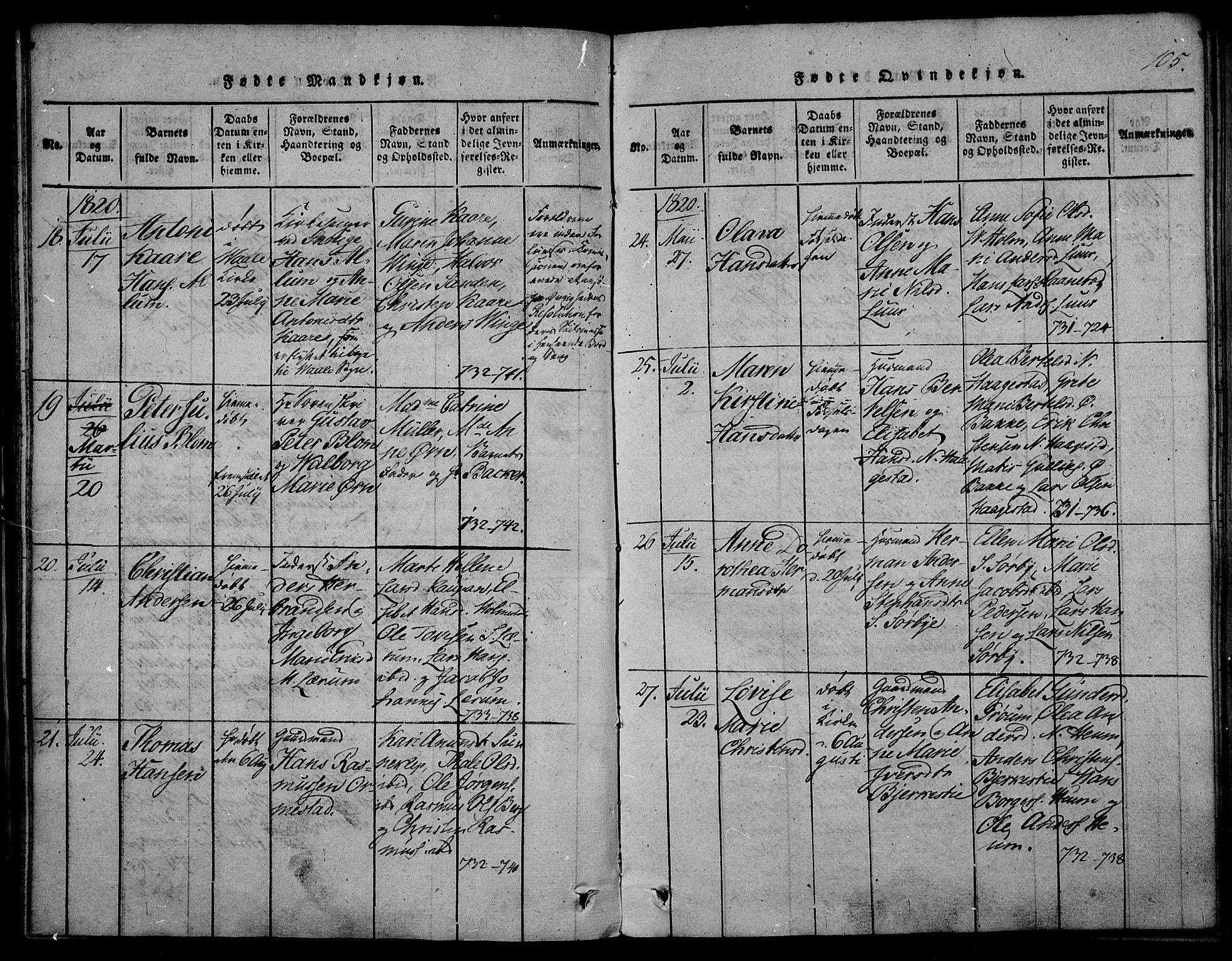 SAKO, Våle kirkebøker, F/Fa/L0007: Ministerialbok nr. I 7, 1814-1824, s. 104-105