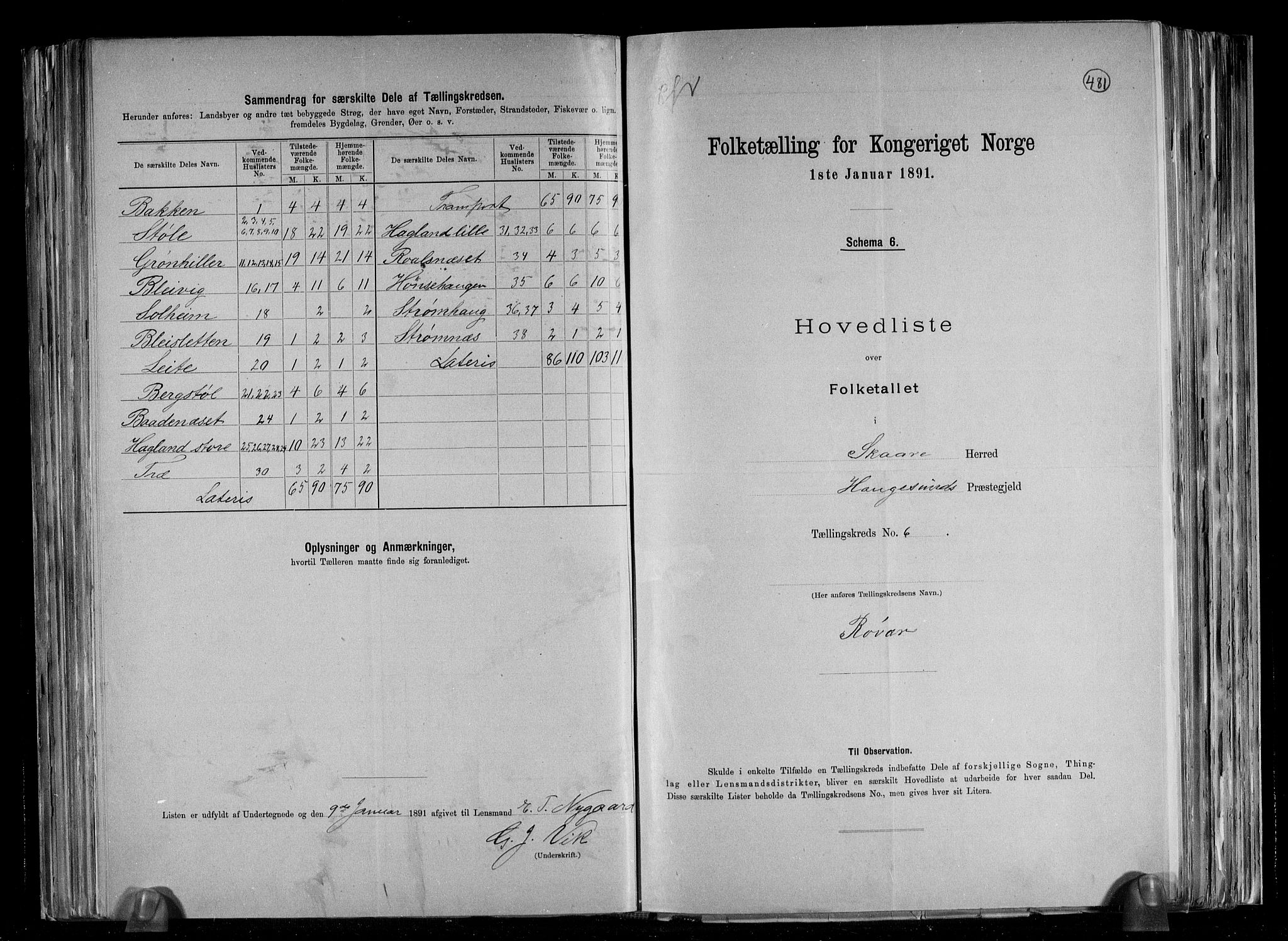 RA, Folketelling 1891 for 1153 Skåre herred, 1891, s. 14