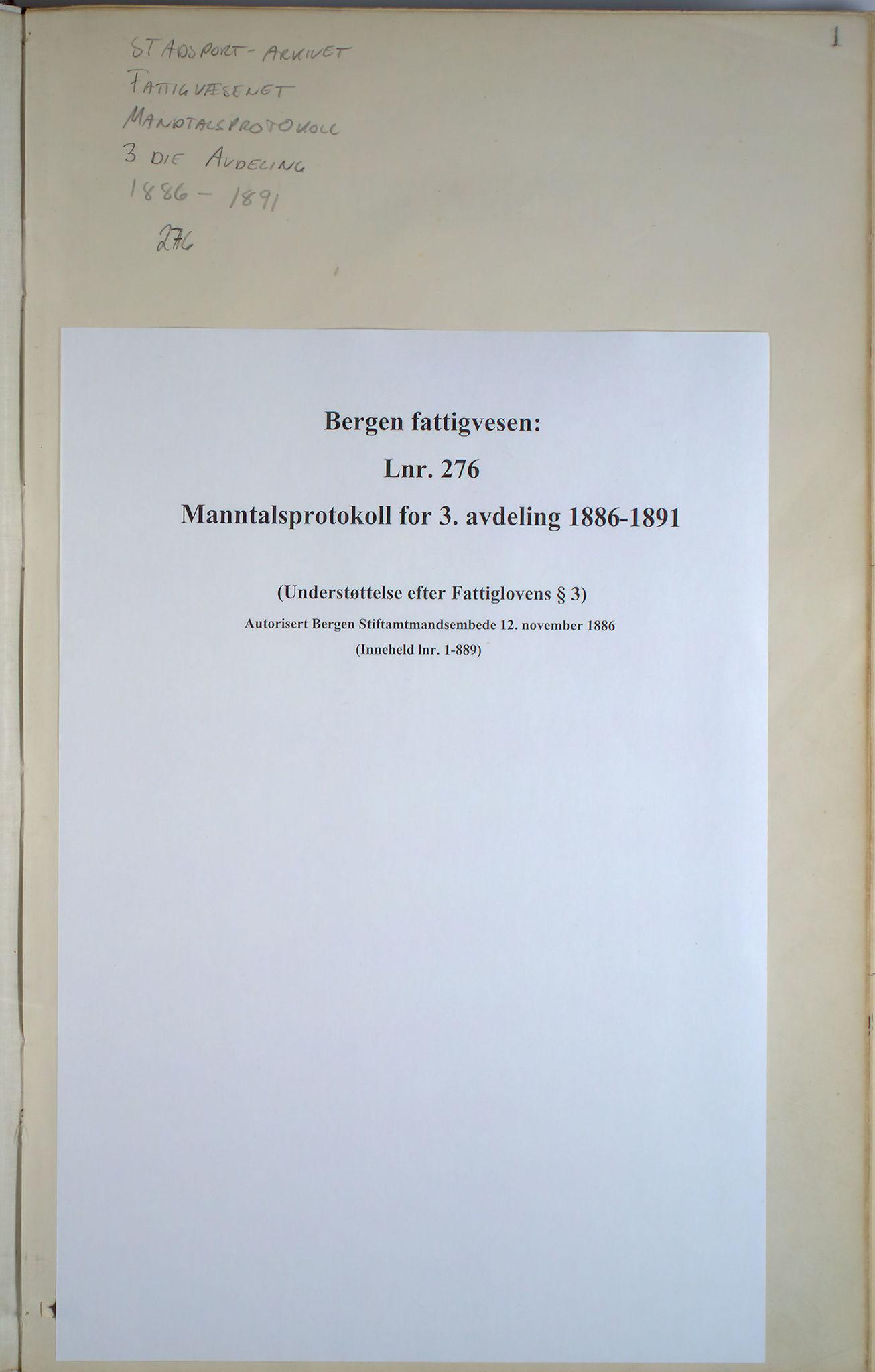 BBA, Bergen fattigvesen, 1886-1891, s. 1