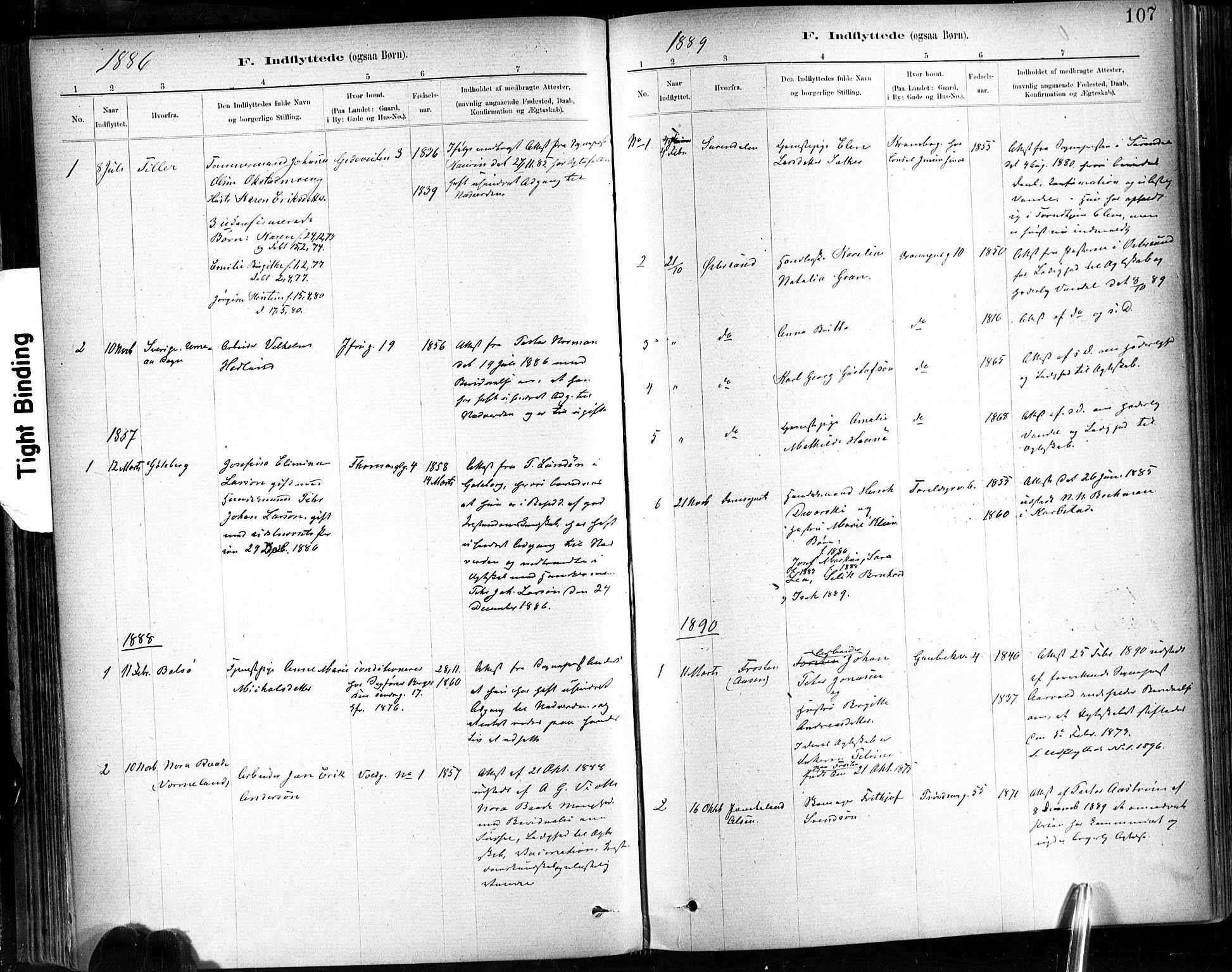 SAT, Ministerialprotokoller, klokkerbøker og fødselsregistre - Sør-Trøndelag, 602/L0120: Ministerialbok nr. 602A18, 1880-1913, s. 107