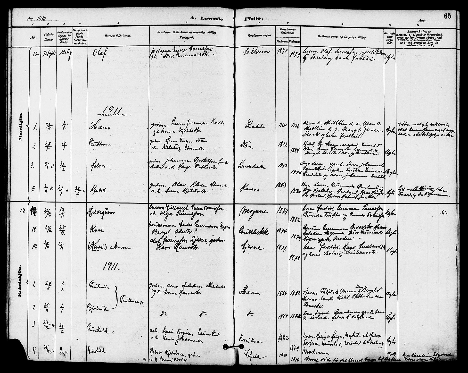 SAKO, Seljord kirkebøker, G/Ga/L0005: Klokkerbok nr. I 5, 1887-1914, s. 65