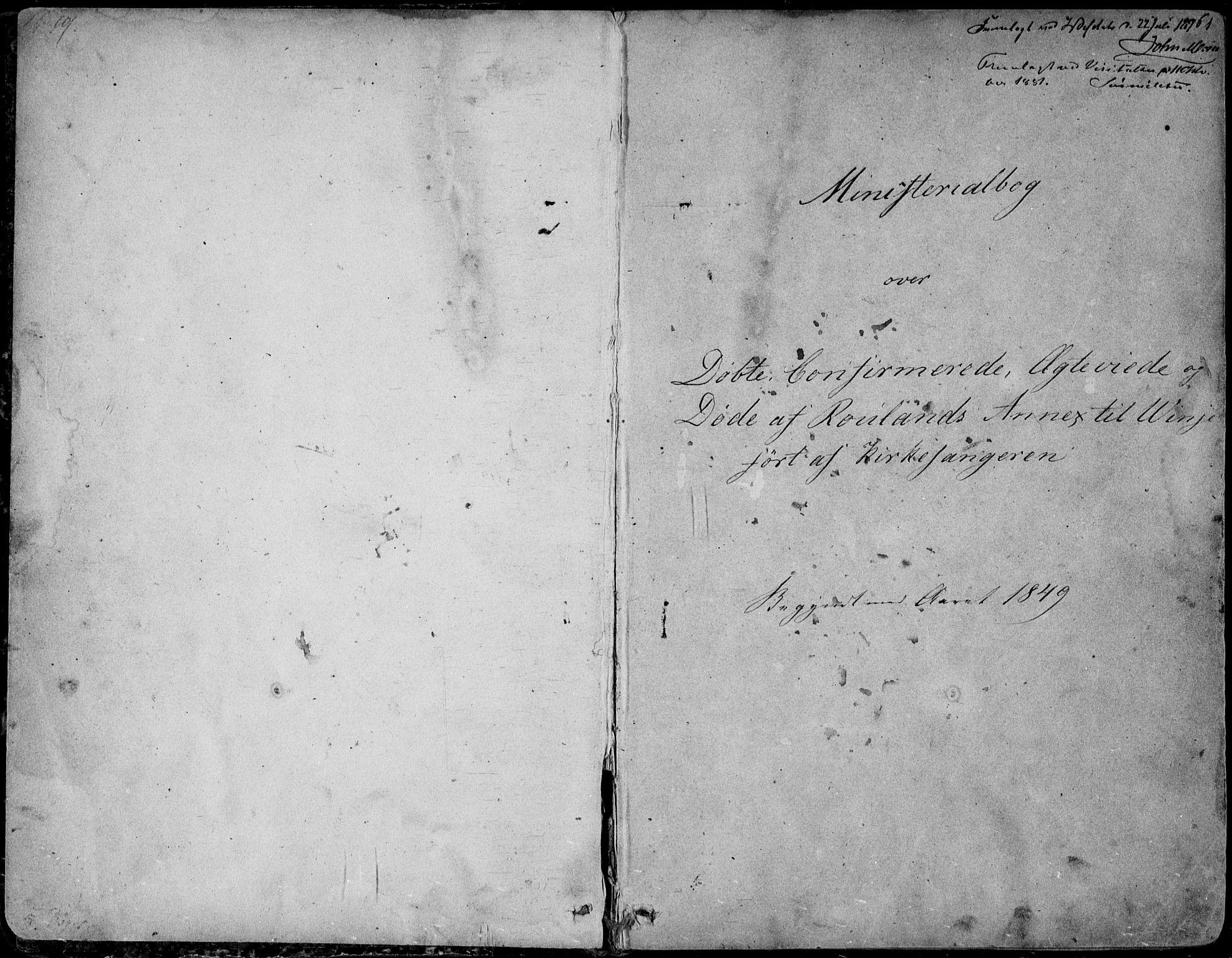 SAKO, Rauland kirkebøker, G/Ga/L0002: Klokkerbok nr. I 2, 1849-1935, s. 1-2