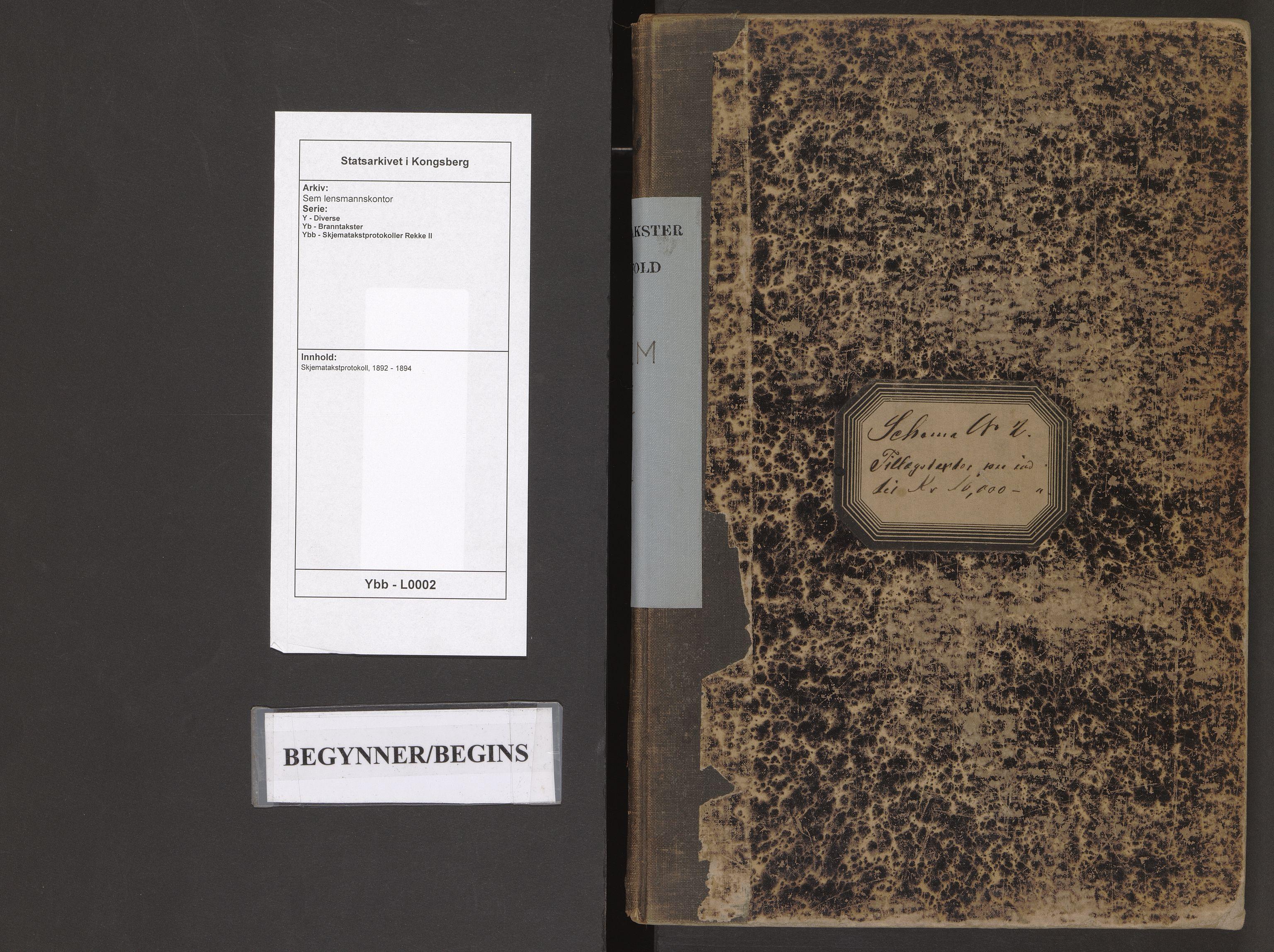 SAKO, Sem lensmannskontor, Y/Yb/Ybb/L0002: Skjematakstprotokoll, 1892-1894