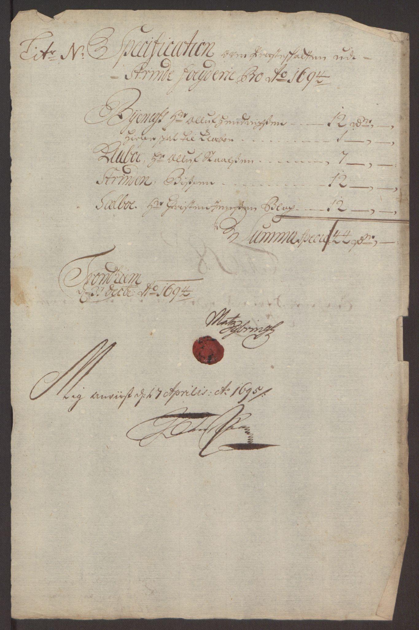RA, Rentekammeret inntil 1814, Reviderte regnskaper, Fogderegnskap, R61/L4104: Fogderegnskap Strinda og Selbu, 1693-1694, s. 281