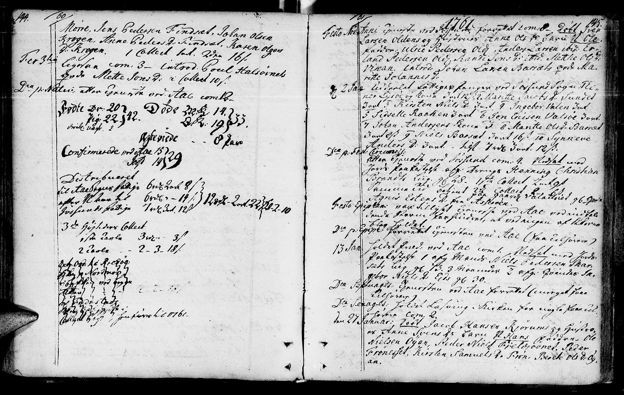 SAT, Ministerialprotokoller, klokkerbøker og fødselsregistre - Sør-Trøndelag, 655/L0672: Ministerialbok nr. 655A01, 1750-1779, s. 144-145