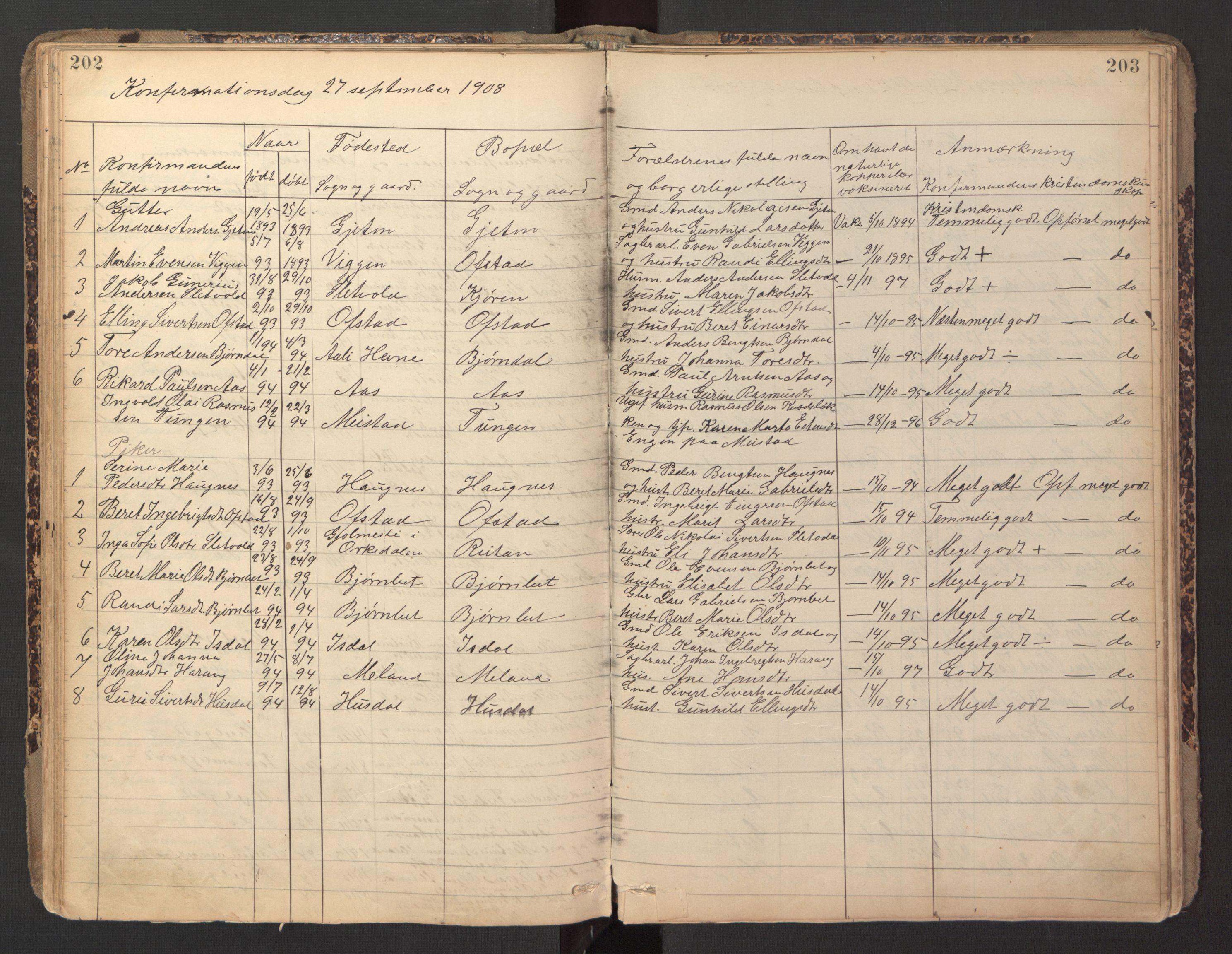 SAT, Ministerialprotokoller, klokkerbøker og fødselsregistre - Sør-Trøndelag, 670/L0837: Klokkerbok nr. 670C01, 1905-1946, s. 202-203