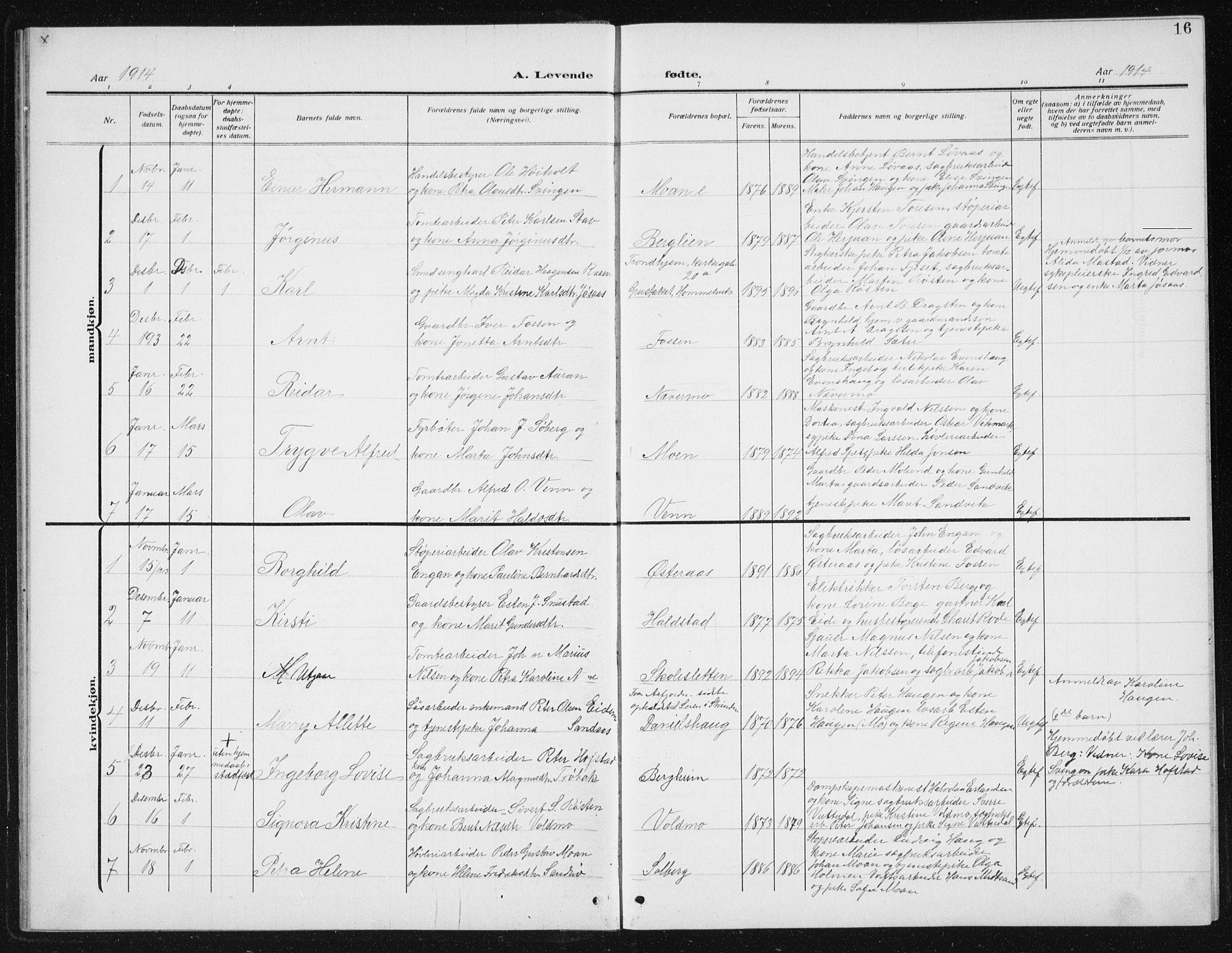SAT, Ministerialprotokoller, klokkerbøker og fødselsregistre - Sør-Trøndelag, 617/L0431: Klokkerbok nr. 617C02, 1910-1936, s. 16