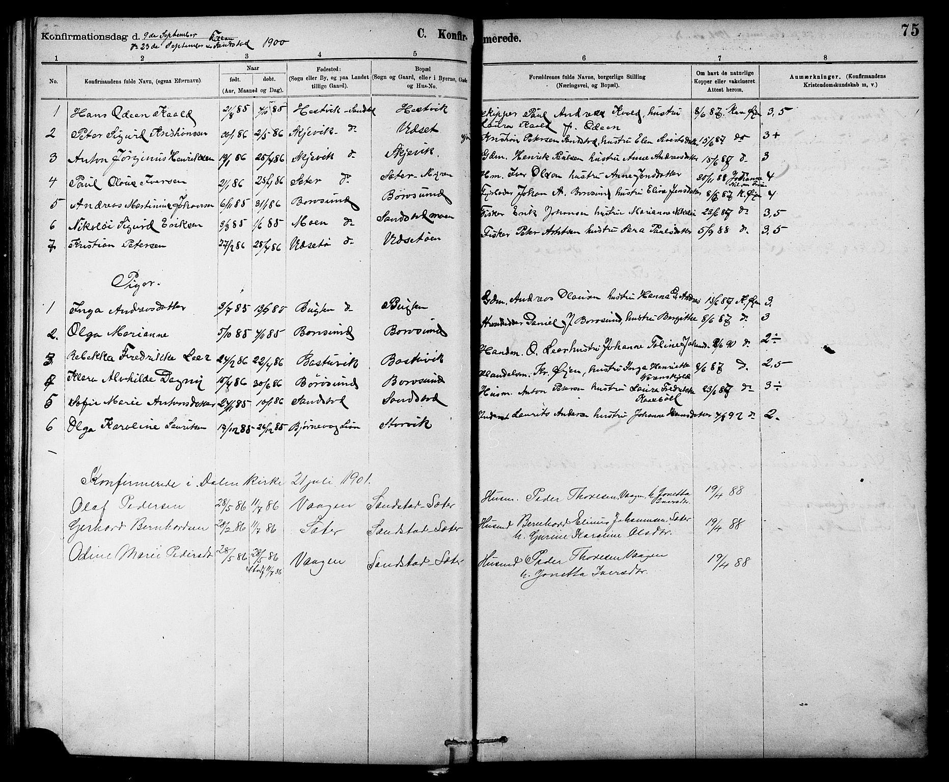 SAT, Ministerialprotokoller, klokkerbøker og fødselsregistre - Sør-Trøndelag, 639/L0573: Klokkerbok nr. 639C01, 1890-1905, s. 75