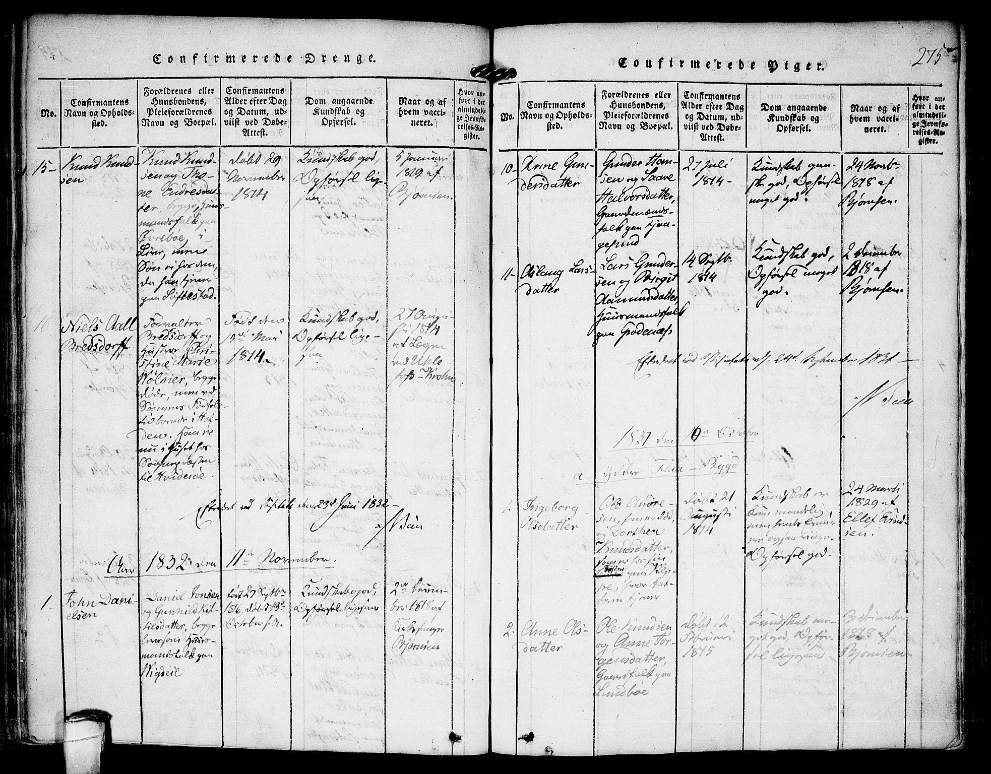SAKO, Kviteseid kirkebøker, F/Fa/L0005: Ministerialbok nr. I 5, 1815-1836, s. 275