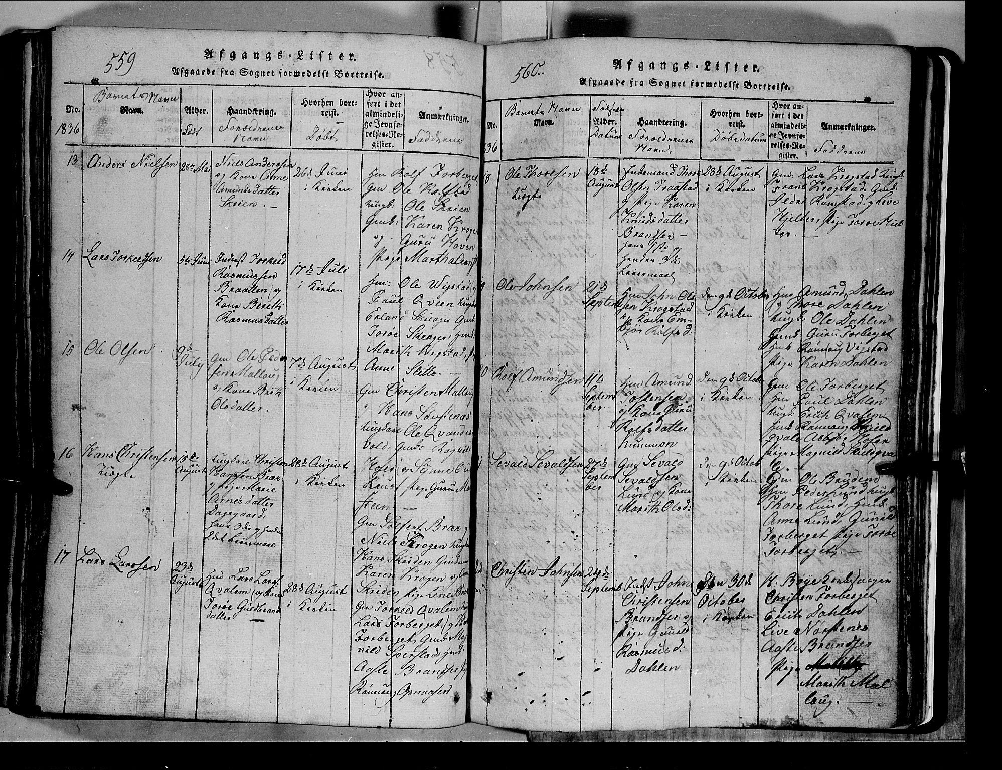 SAH, Lom prestekontor, L/L0003: Klokkerbok nr. 3, 1815-1844, s. 559-560