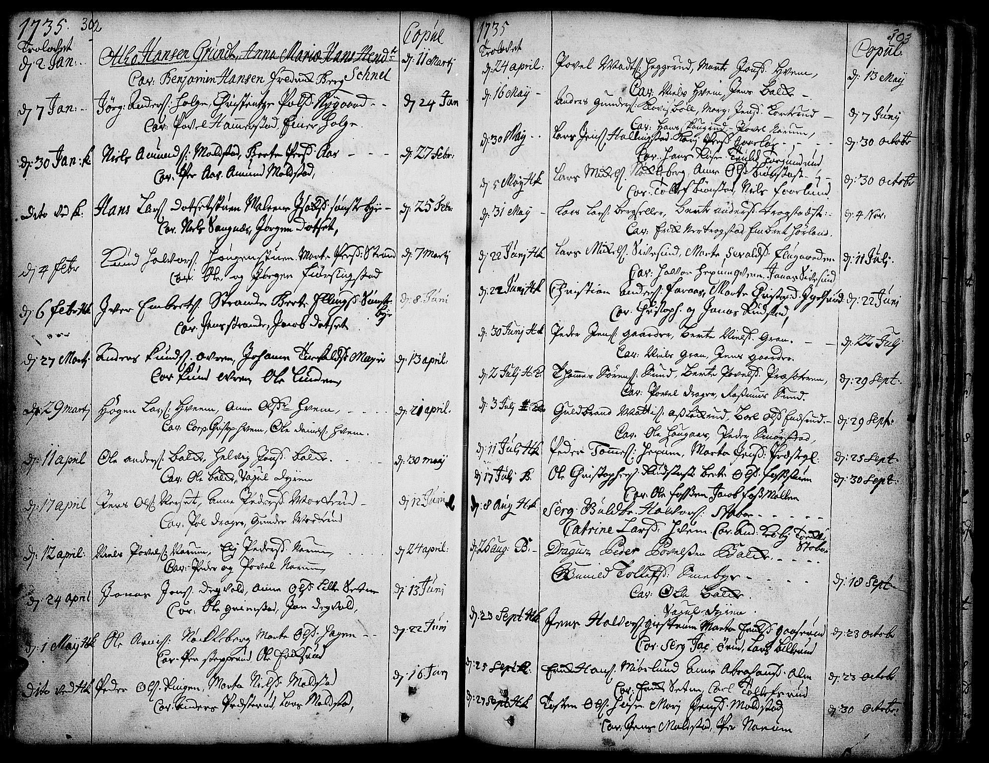 SAH, Toten prestekontor, Ministerialbok nr. 3, 1734-1751, s. 302-303