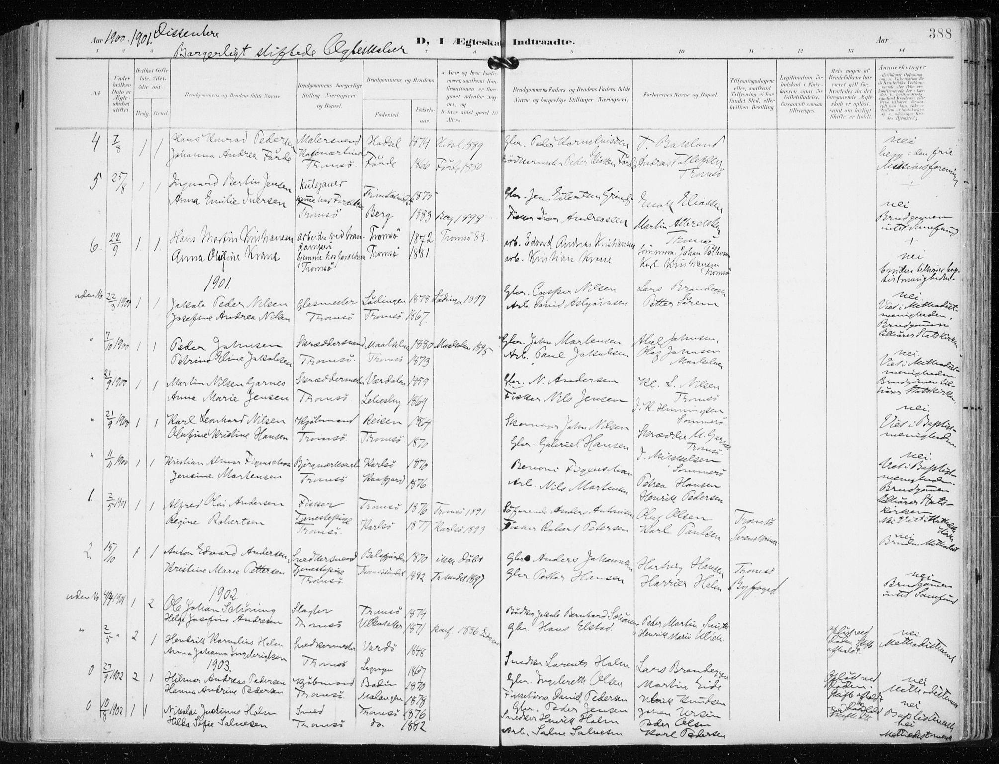 SATØ, Tromsø sokneprestkontor/stiftsprosti/domprosti, G/Ga/L0016kirke: Ministerialbok nr. 16, 1899-1906, s. 388
