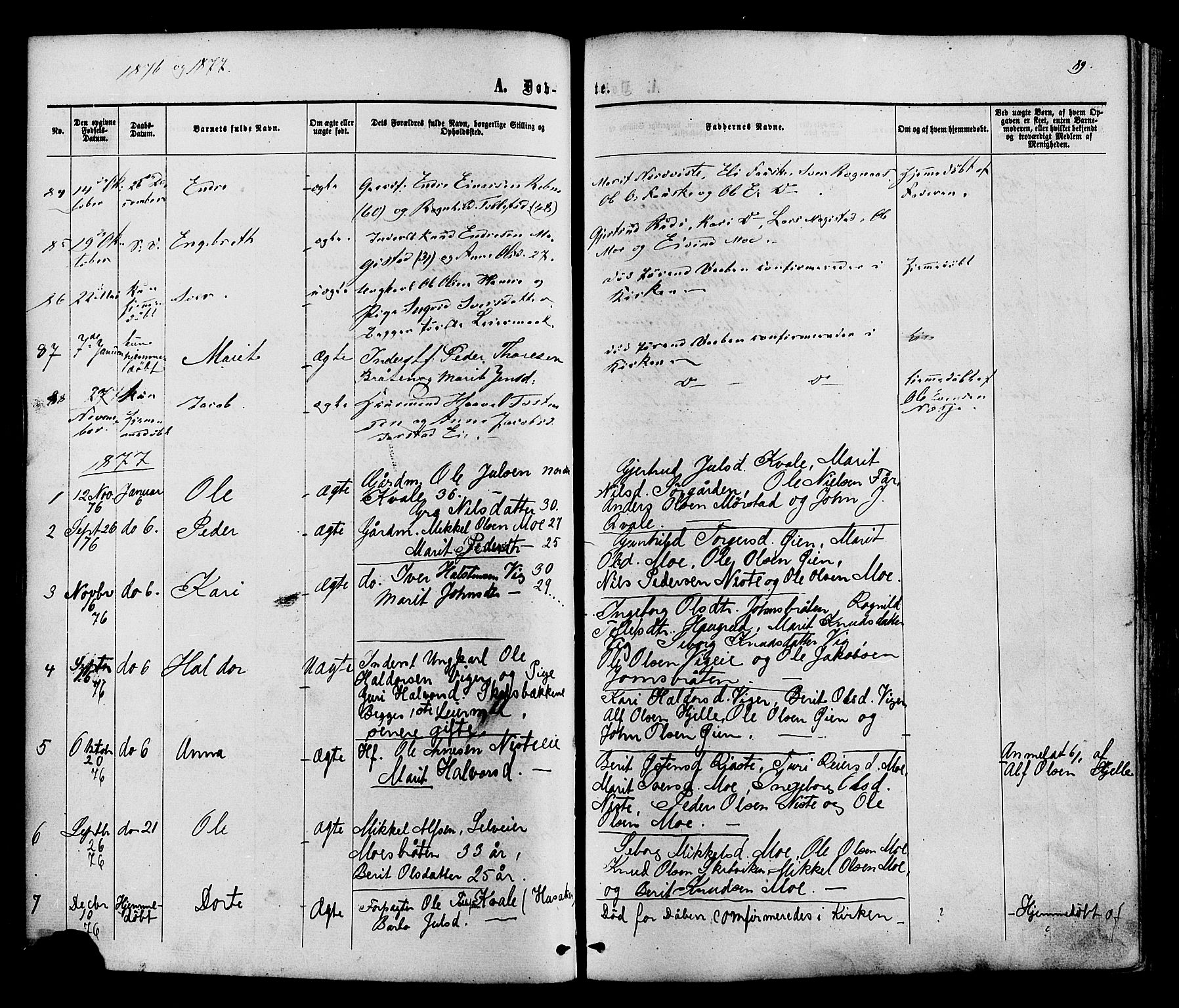 SAH, Vestre Slidre prestekontor, Ministerialbok nr. 3, 1865-1880, s. 89