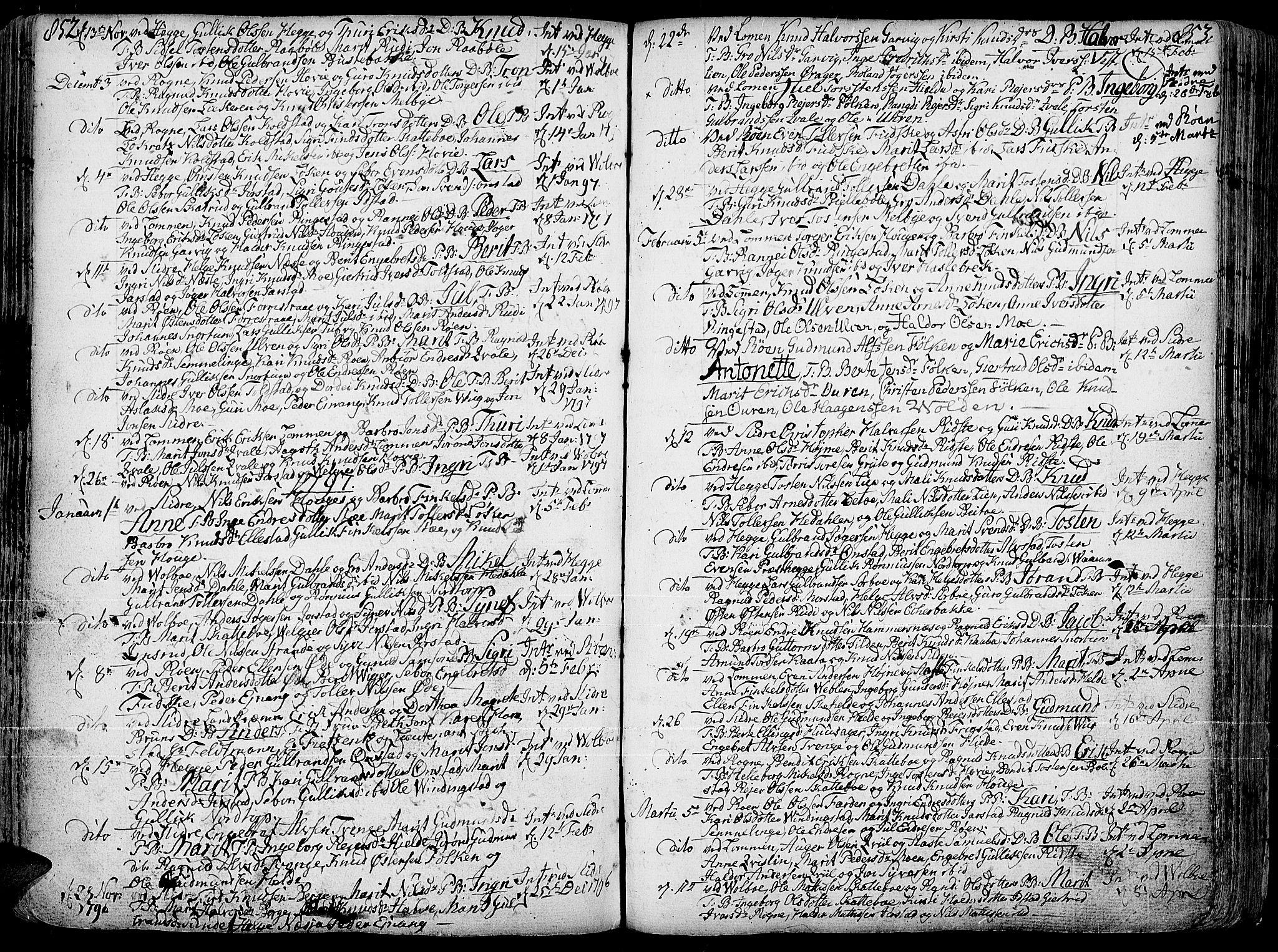 SAH, Slidre prestekontor, Ministerialbok nr. 1, 1724-1814, s. 852-853