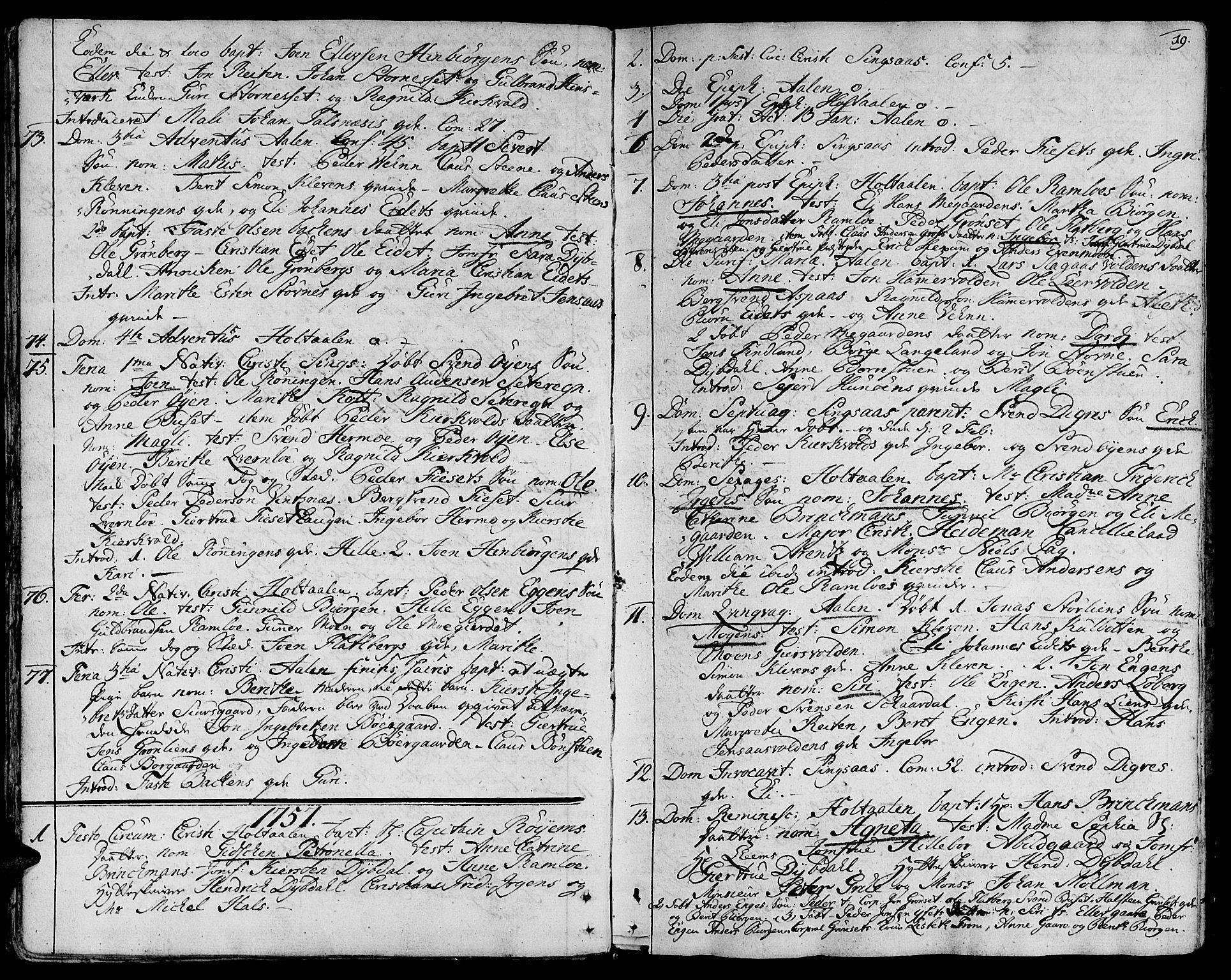 SAT, Ministerialprotokoller, klokkerbøker og fødselsregistre - Sør-Trøndelag, 685/L0952: Ministerialbok nr. 685A01, 1745-1804, s. 19