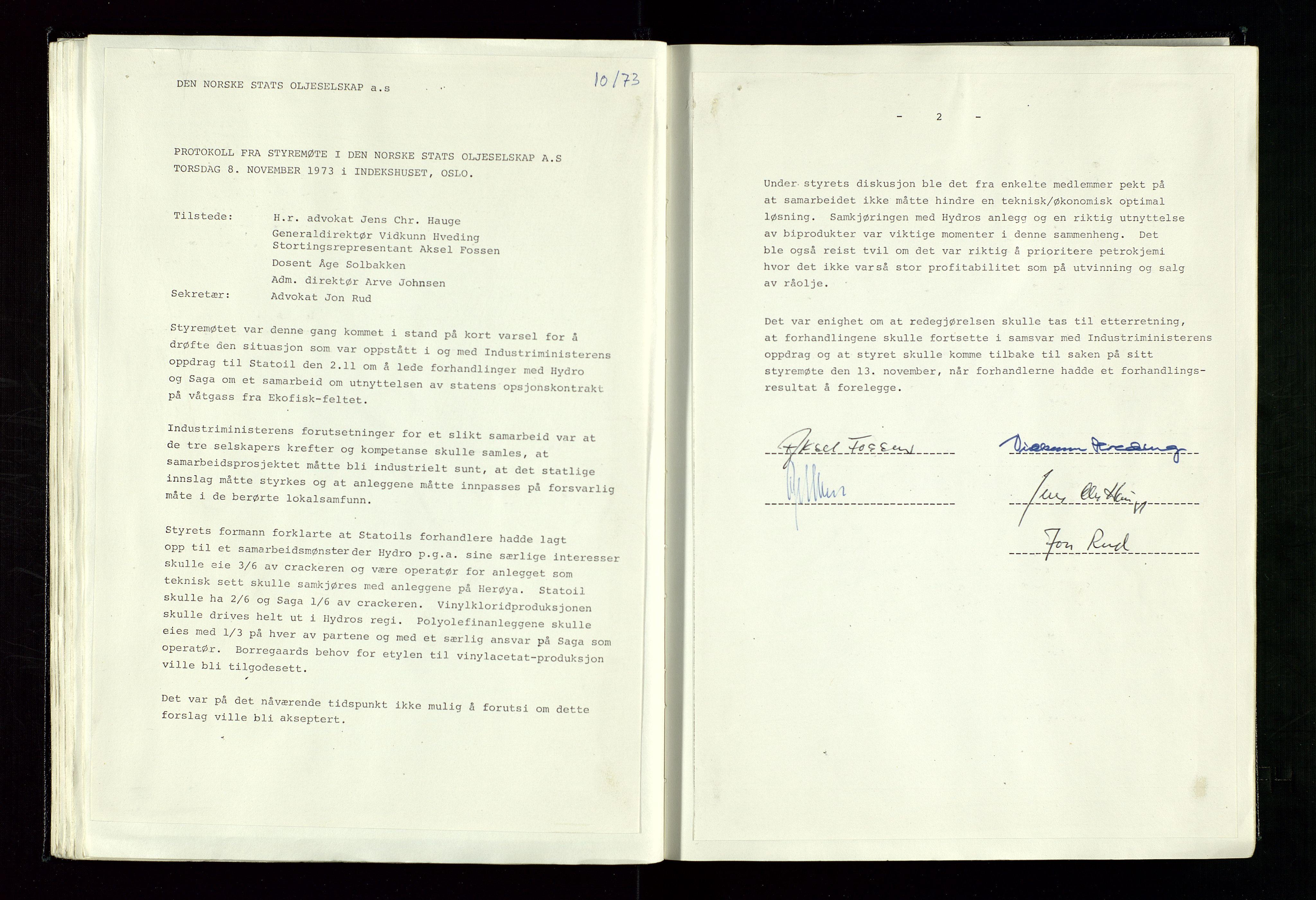 SAST, Pa 1339 - Statoil ASA, A/Ab/Aba/L0001: Styremøteprotokoller, 05.10.1972 til 14.12.1978, 1972-1978, s. 40