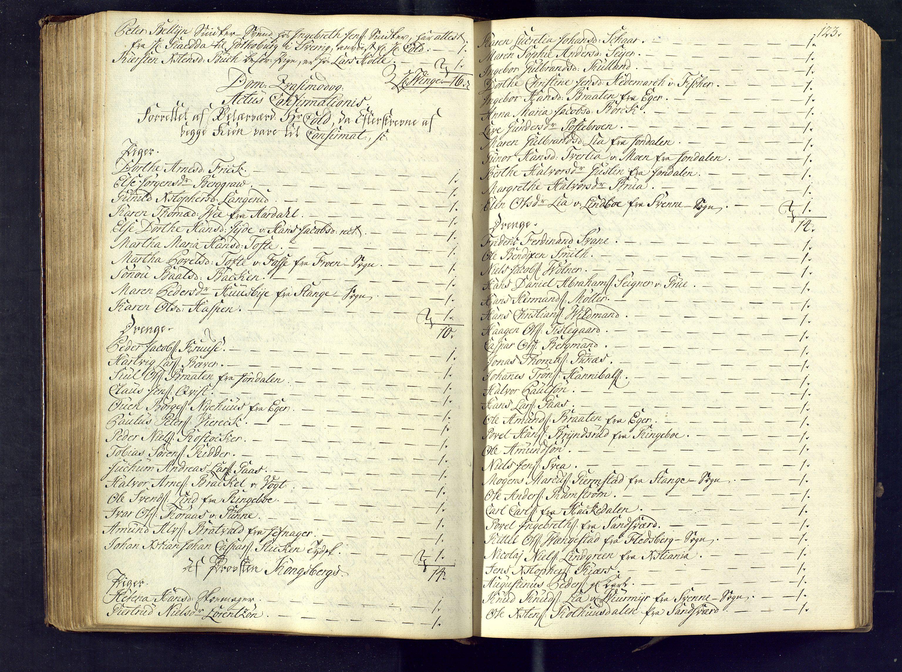 SAKO, Kongsberg kirkebøker, M/Ma/L0005: Kommunikantprotokoll nr. 5, 1755-1761, s. 123
