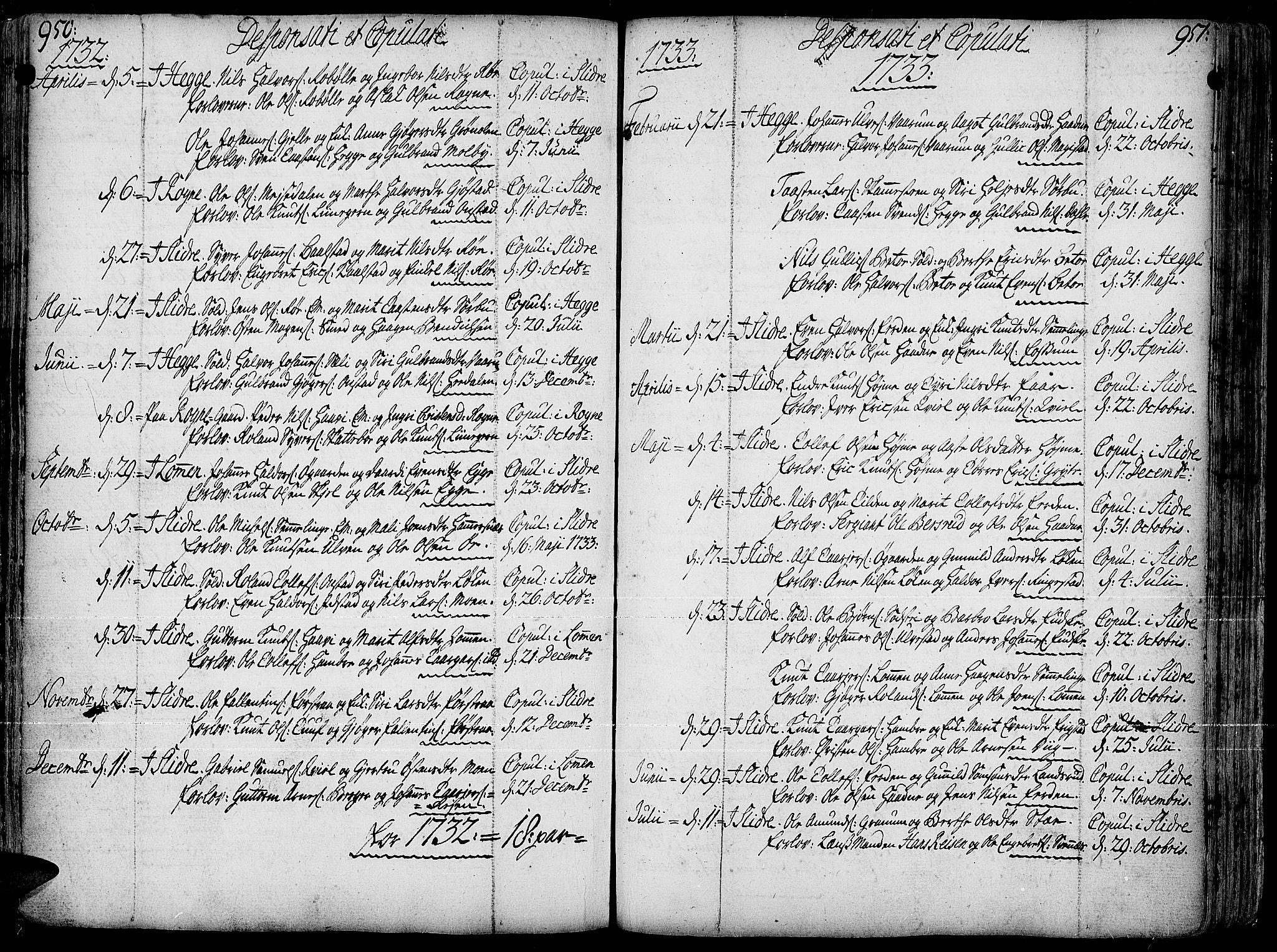 SAH, Slidre prestekontor, Ministerialbok nr. 1, 1724-1814, s. 950-951