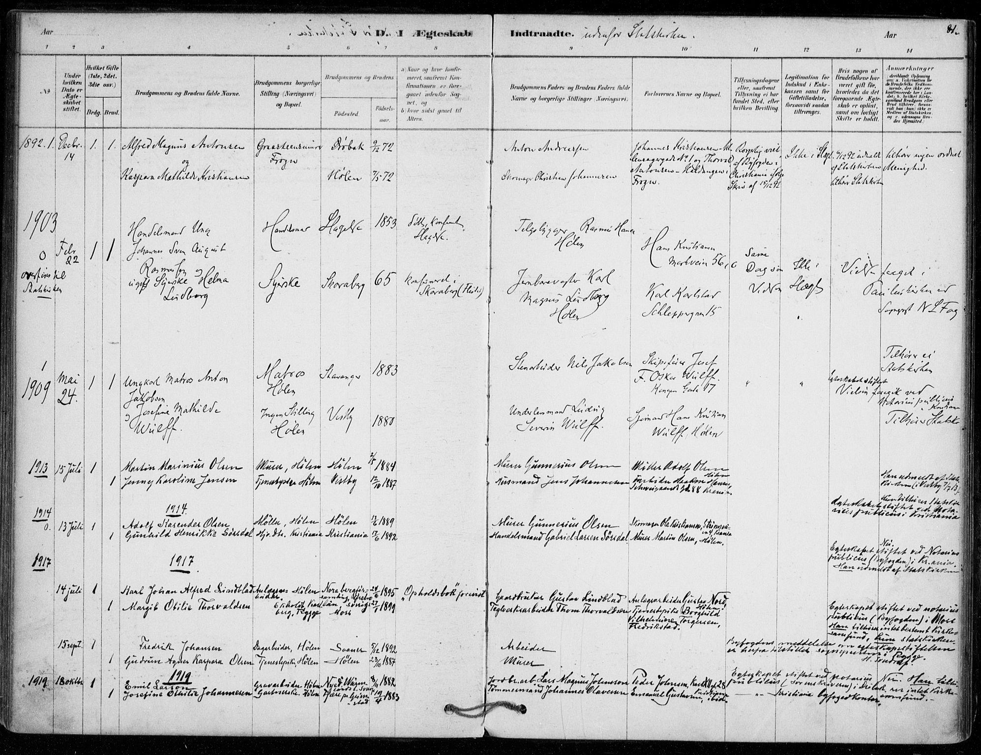 SAO, Vestby prestekontor Kirkebøker, F/Fe/L0001: Ministerialbok nr. V 1, 1878-1931, s. 81