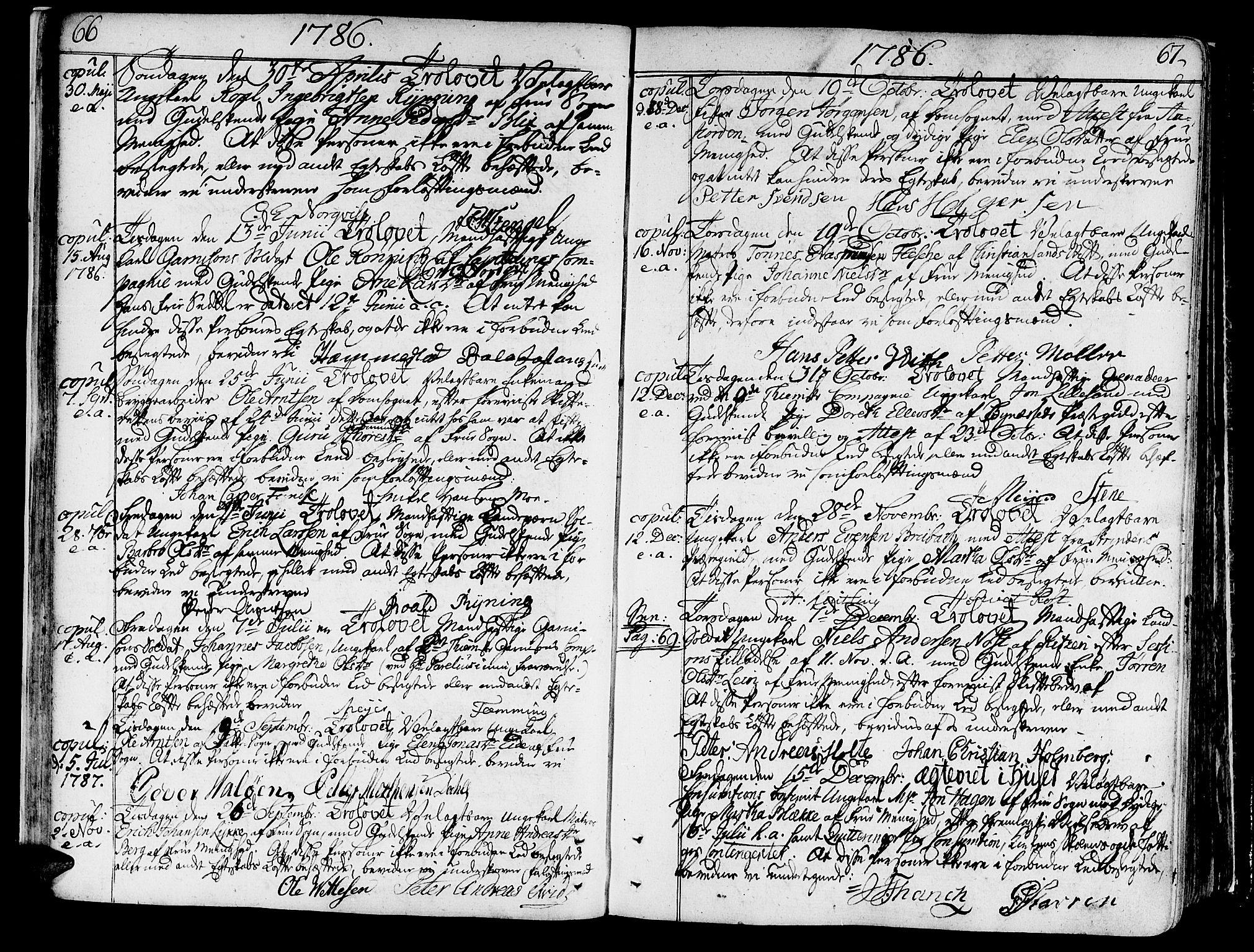 SAT, Ministerialprotokoller, klokkerbøker og fødselsregistre - Sør-Trøndelag, 602/L0105: Ministerialbok nr. 602A03, 1774-1814, s. 66-67