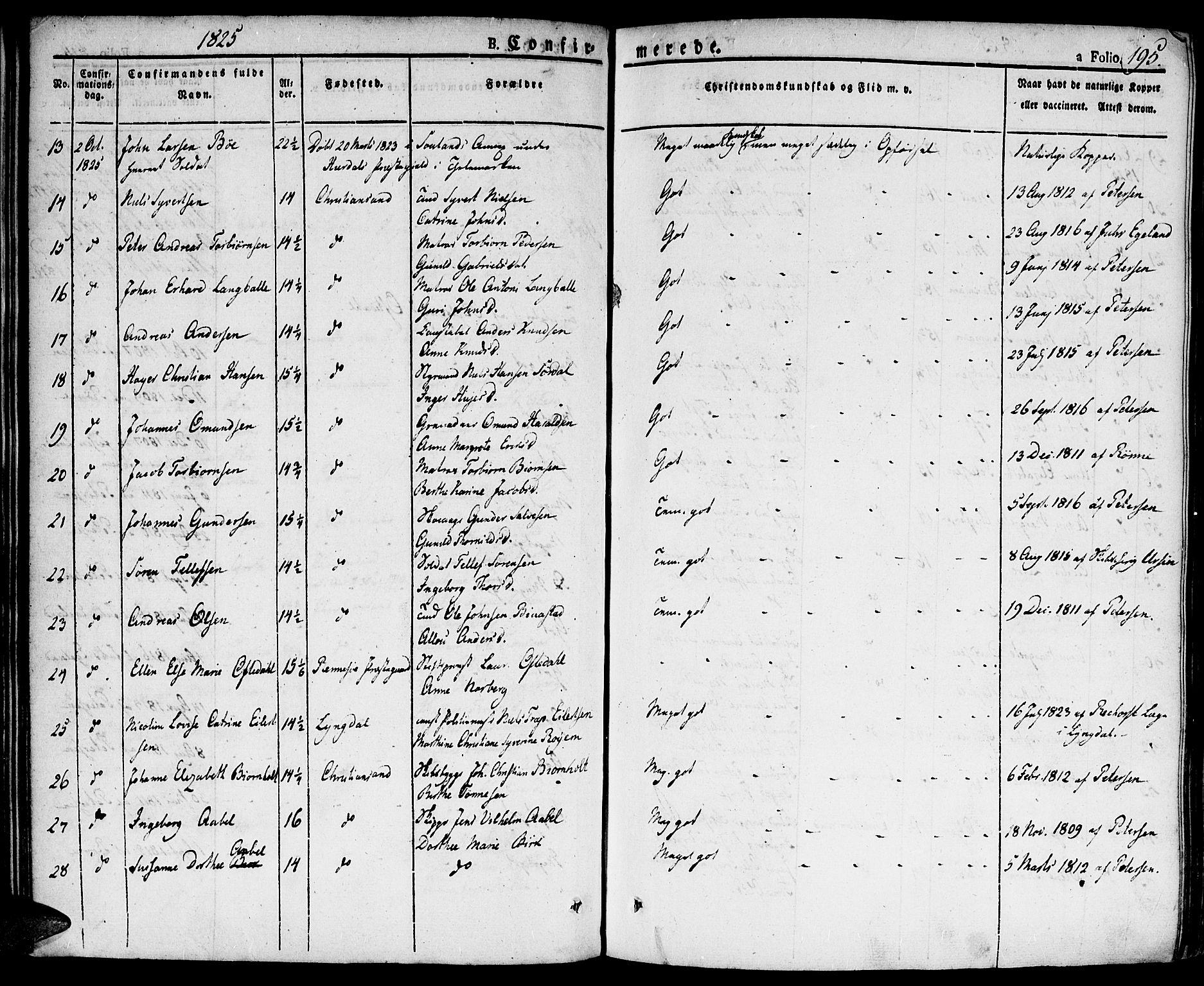 SAK, Kristiansand domprosti, F/Fa/L0009: Ministerialbok nr. A 9, 1821-1827, s. 195