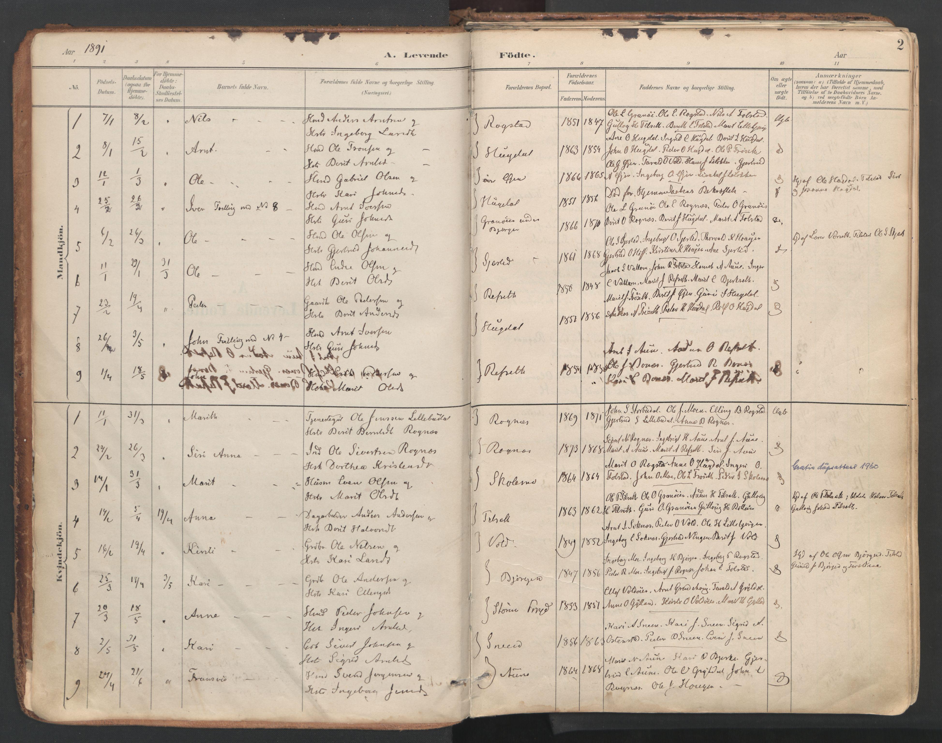 SAT, Ministerialprotokoller, klokkerbøker og fødselsregistre - Sør-Trøndelag, 687/L1004: Ministerialbok nr. 687A10, 1891-1923, s. 2