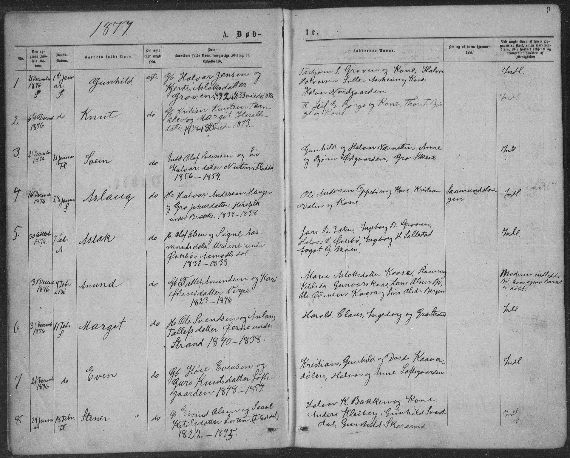 SAKO, Seljord kirkebøker, F/Fa/L0014: Ministerialbok nr. I 14, 1877-1886, s. 3
