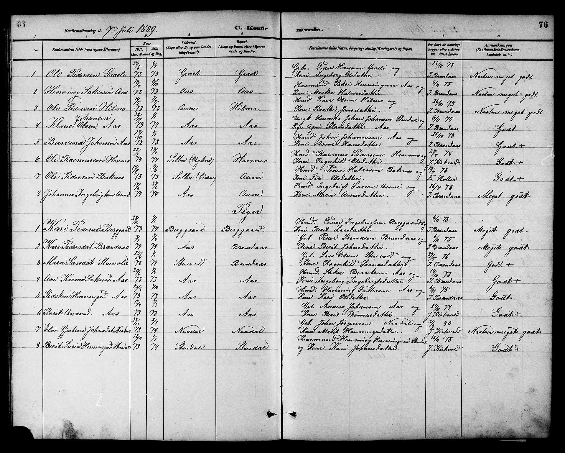 SAT, Ministerialprotokoller, klokkerbøker og fødselsregistre - Sør-Trøndelag, 698/L1167: Klokkerbok nr. 698C04, 1888-1907, s. 76
