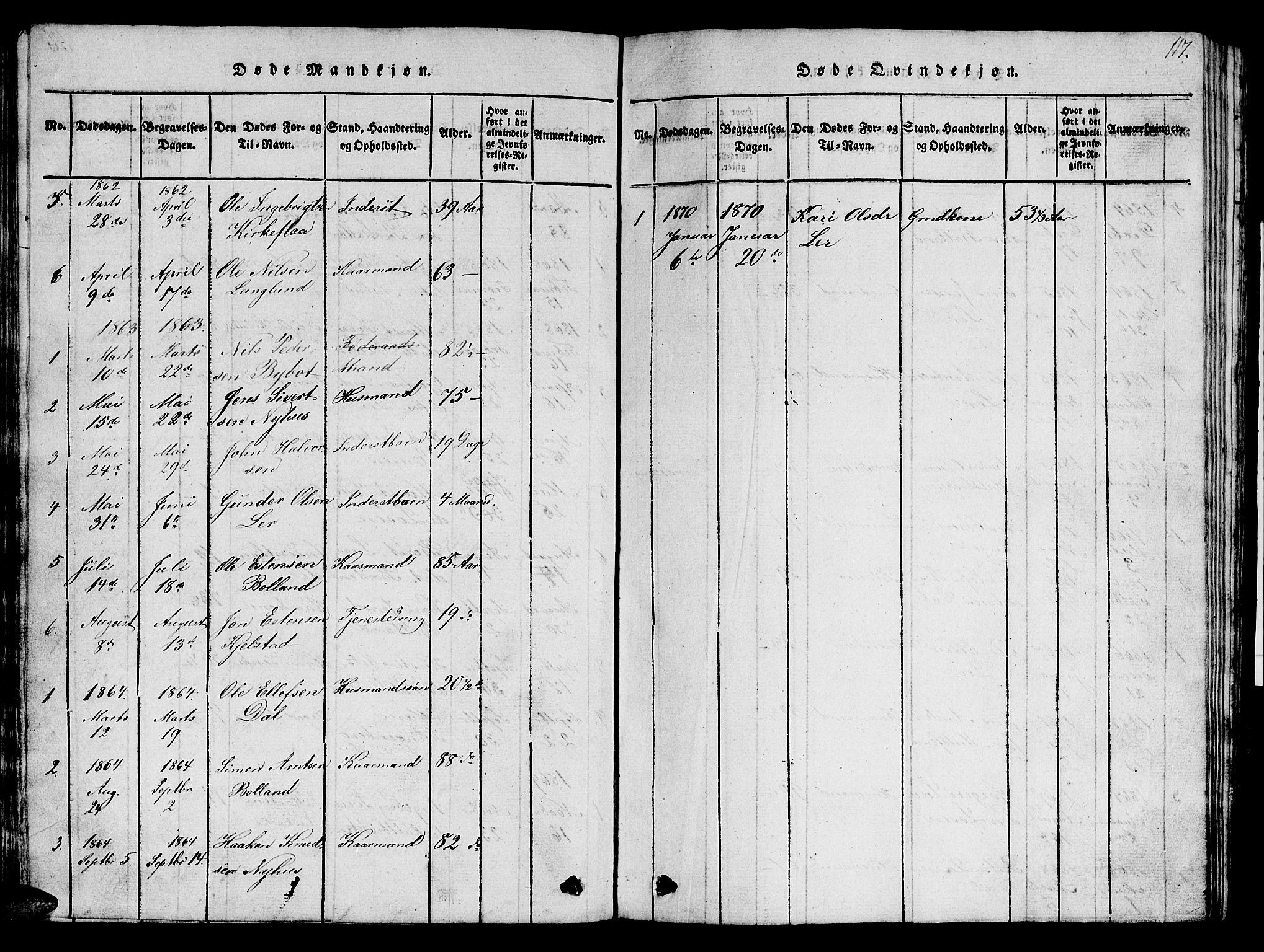 SAT, Ministerialprotokoller, klokkerbøker og fødselsregistre - Sør-Trøndelag, 693/L1121: Klokkerbok nr. 693C02, 1816-1869, s. 117