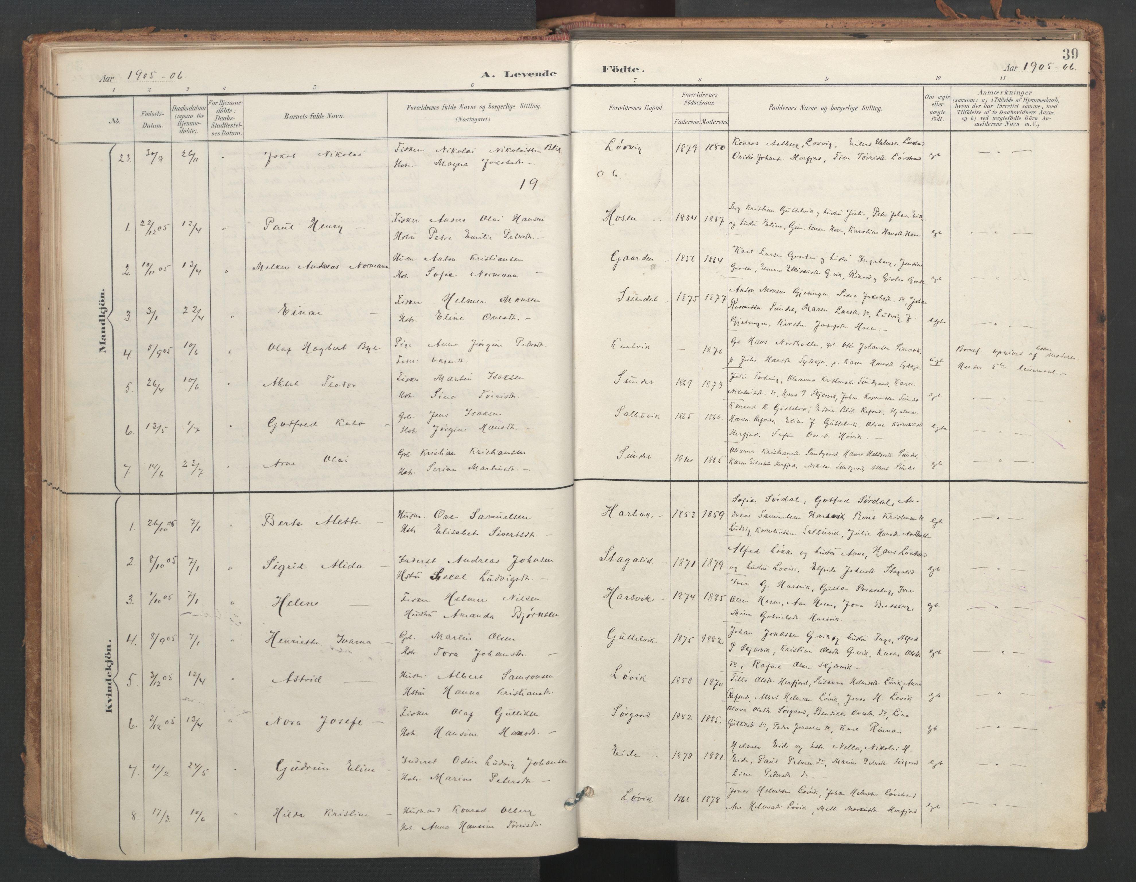 SAT, Ministerialprotokoller, klokkerbøker og fødselsregistre - Sør-Trøndelag, 656/L0693: Ministerialbok nr. 656A02, 1894-1913, s. 39