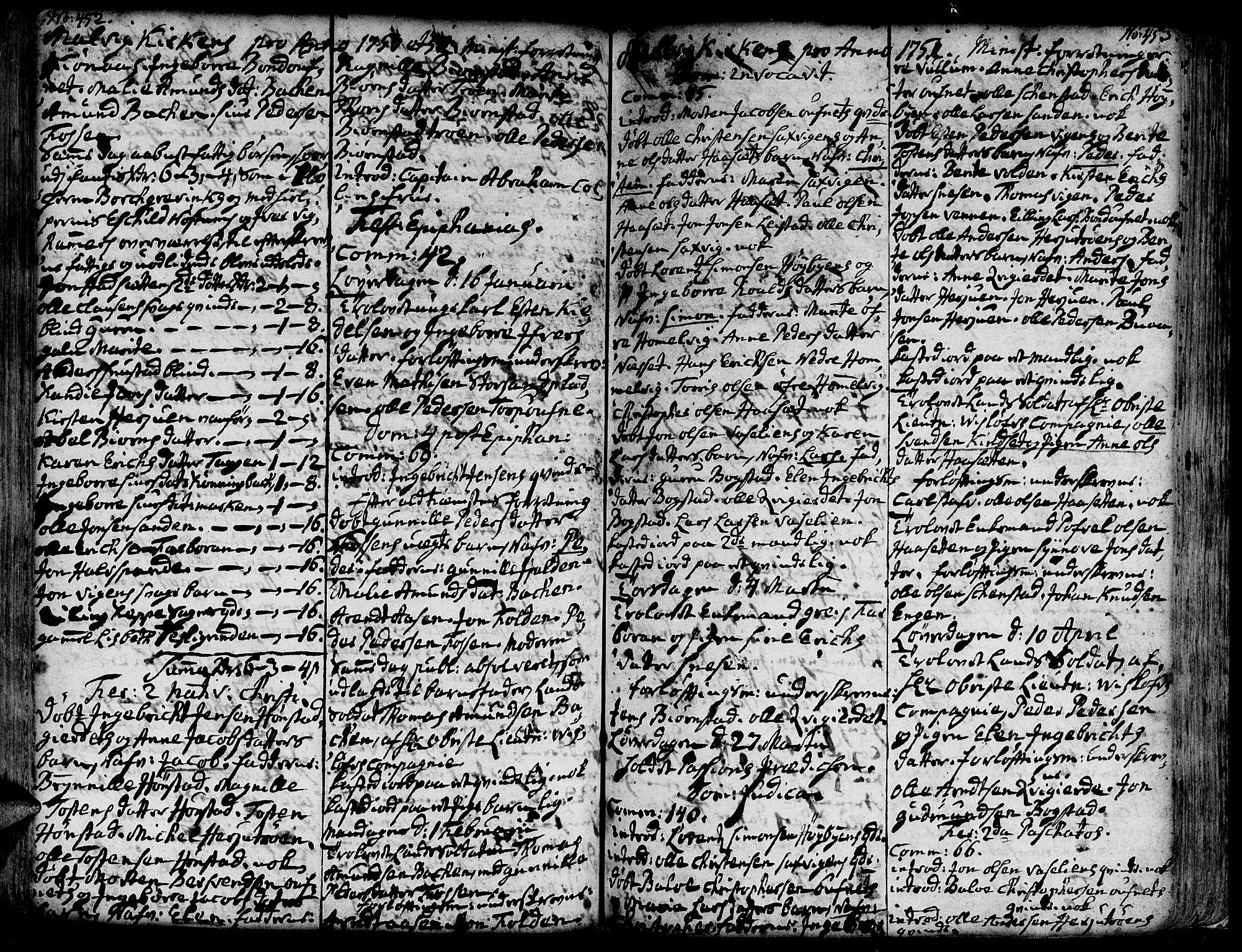 SAT, Ministerialprotokoller, klokkerbøker og fødselsregistre - Sør-Trøndelag, 606/L0277: Ministerialbok nr. 606A01 /3, 1727-1780, s. 452-453