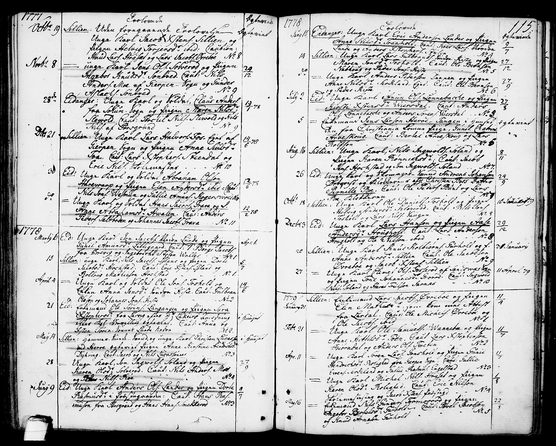 SAKO, Eidanger kirkebøker, F/Fa/L0006: Ministerialbok nr. 6, 1764-1814, s. 115