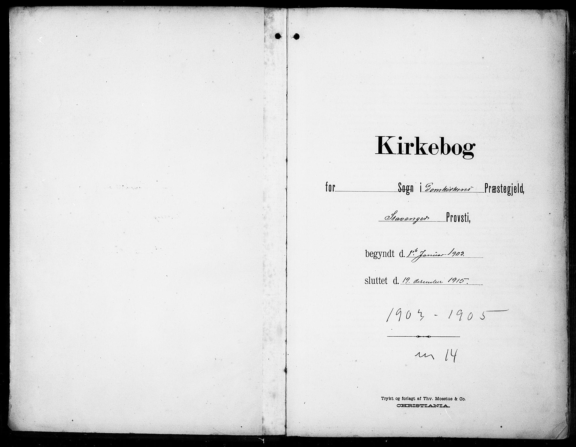 SAST, Domkirken sokneprestkontor, 30/30BB/L0018: Klokkerbok nr. B 18, 1903-1915