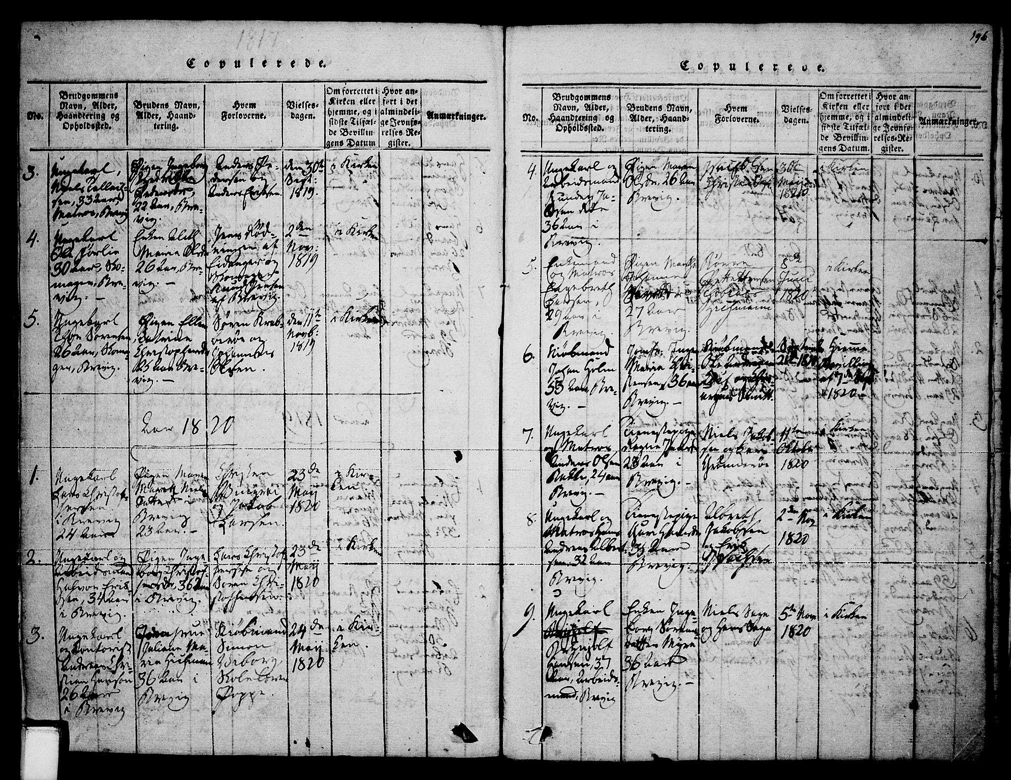 SAKO, Brevik kirkebøker, F/Fa/L0004: Ministerialbok nr. 4, 1814-1846, s. 196
