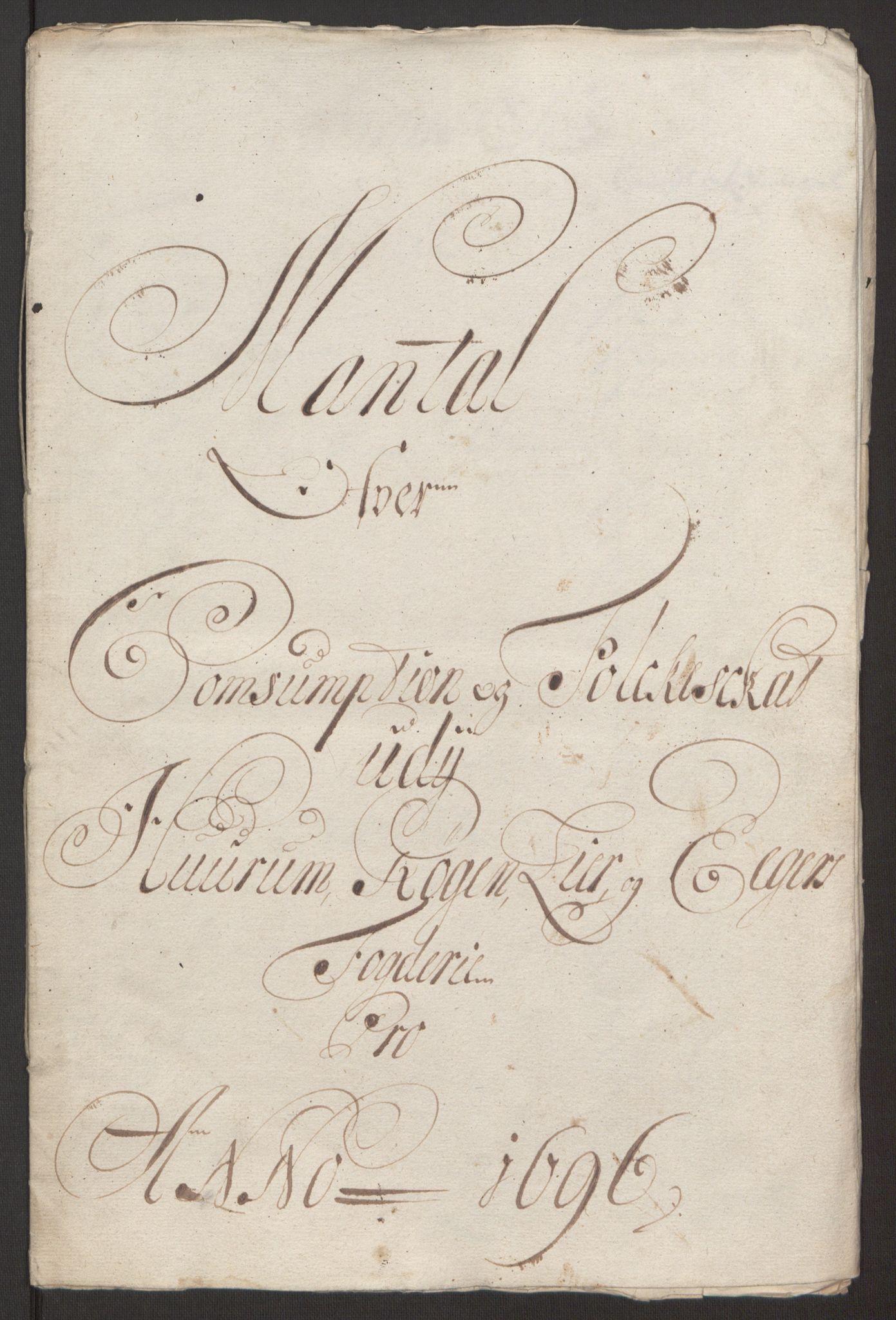 RA, Rentekammeret inntil 1814, Reviderte regnskaper, Fogderegnskap, R30/L1694: Fogderegnskap Hurum, Røyken, Eiker og Lier, 1694-1696, s. 425