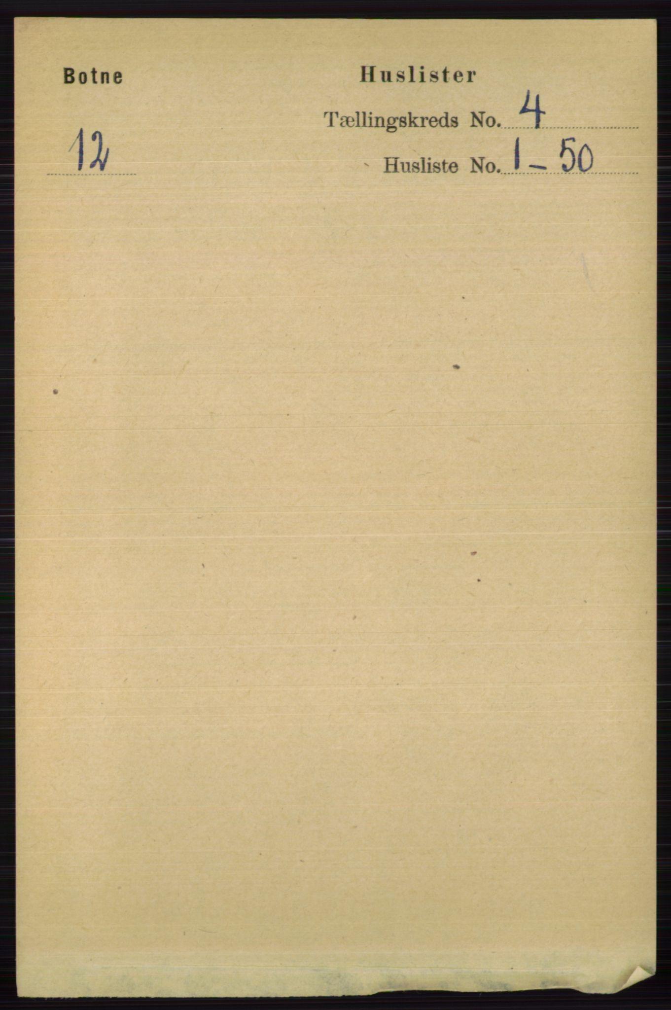 RA, Folketelling 1891 for 0715 Botne herred, 1891, s. 1543