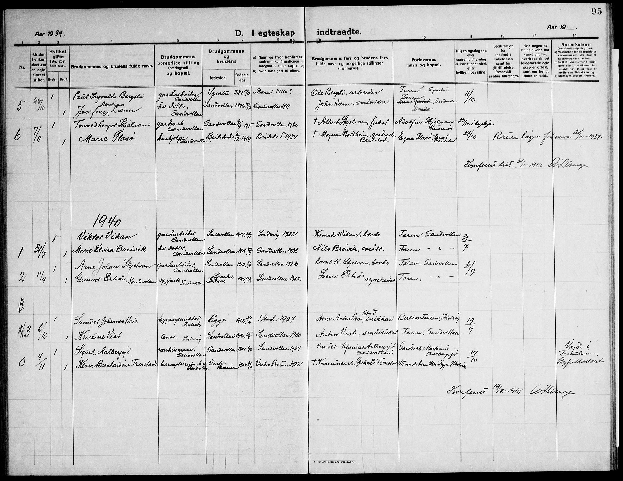 SAT, Ministerialprotokoller, klokkerbøker og fødselsregistre - Nord-Trøndelag, 732/L0319: Klokkerbok nr. 732C03, 1911-1945, s. 95