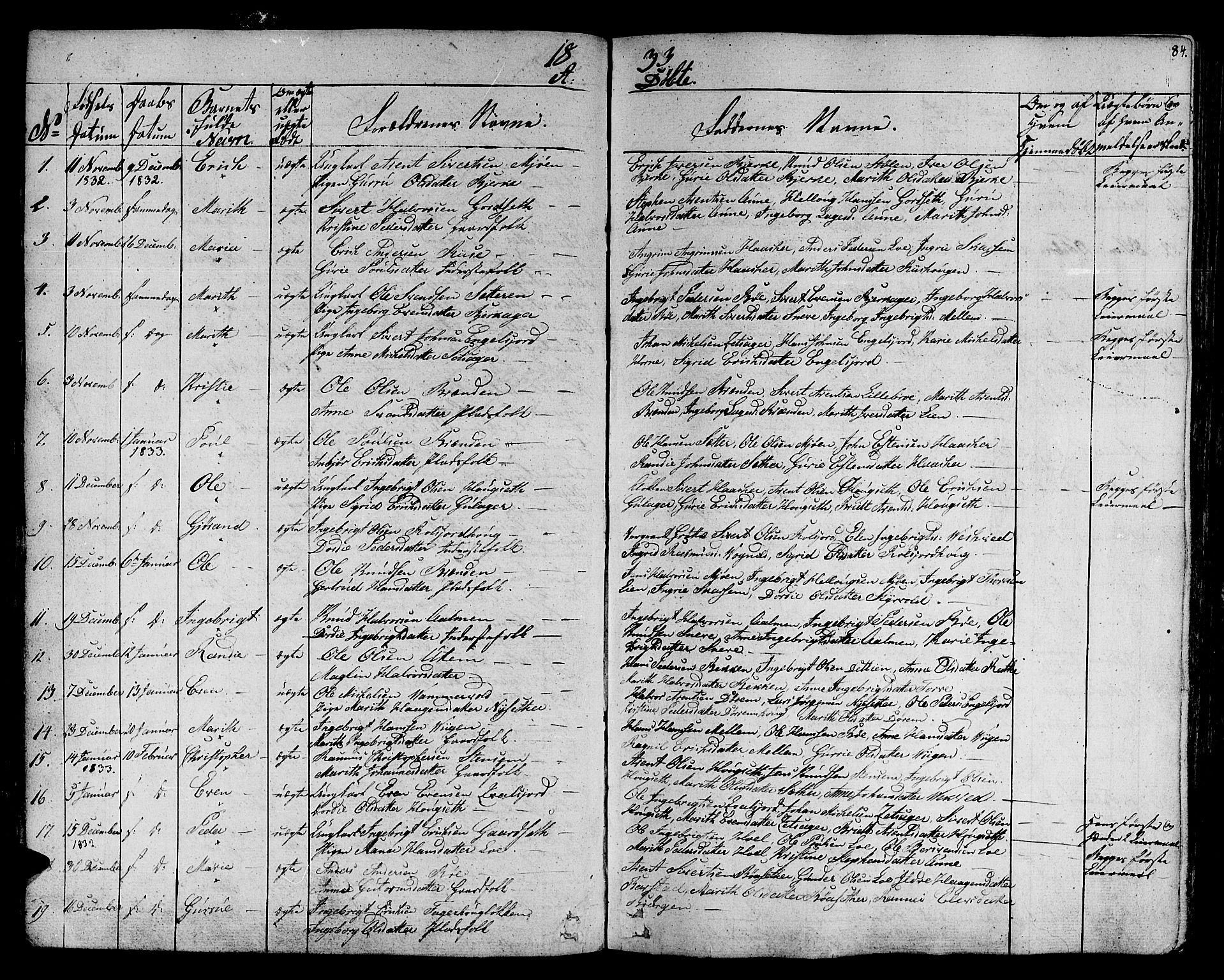 SAT, Ministerialprotokoller, klokkerbøker og fødselsregistre - Sør-Trøndelag, 678/L0897: Ministerialbok nr. 678A06-07, 1821-1847, s. 84
