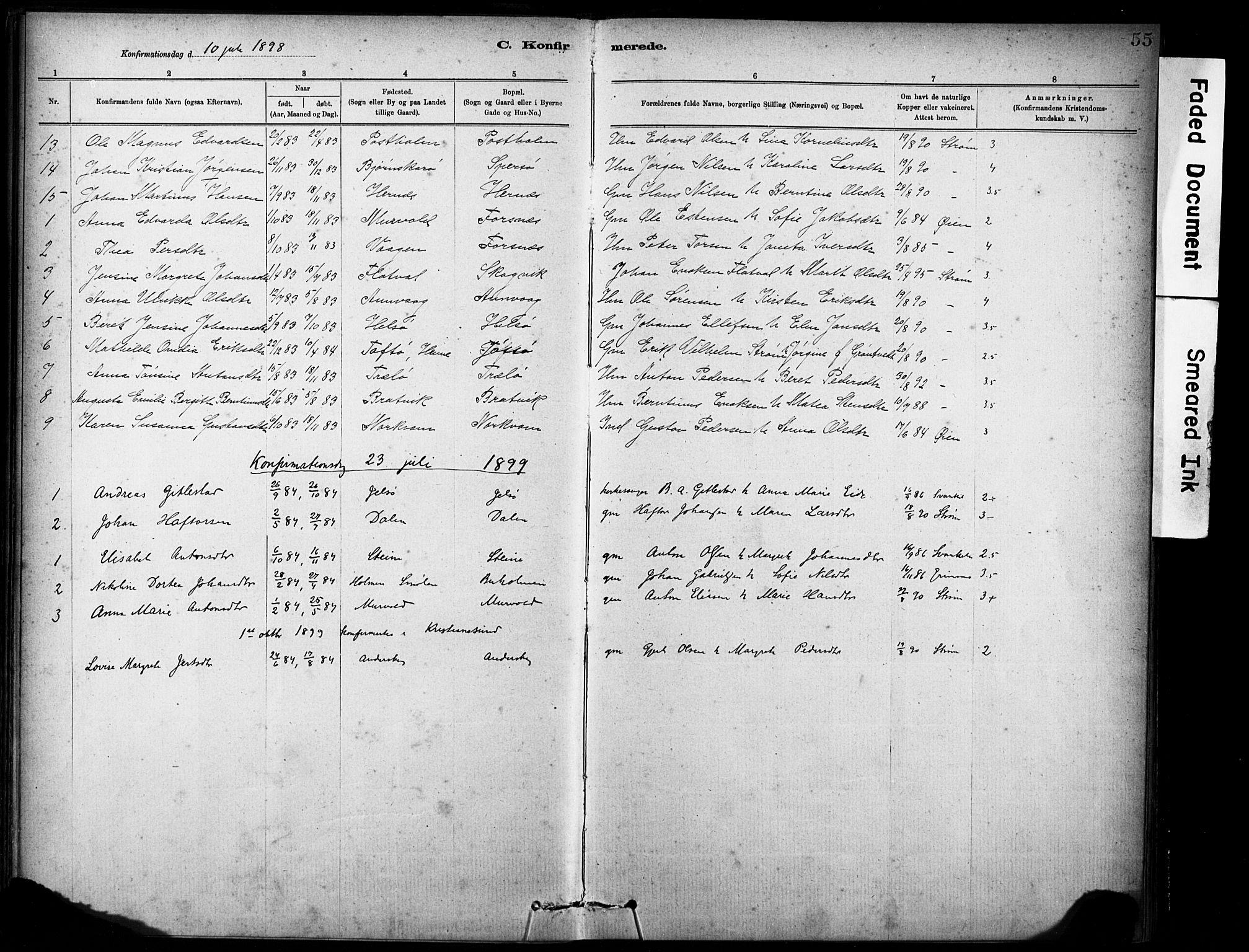 SAT, Ministerialprotokoller, klokkerbøker og fødselsregistre - Sør-Trøndelag, 635/L0551: Ministerialbok nr. 635A01, 1882-1899, s. 55