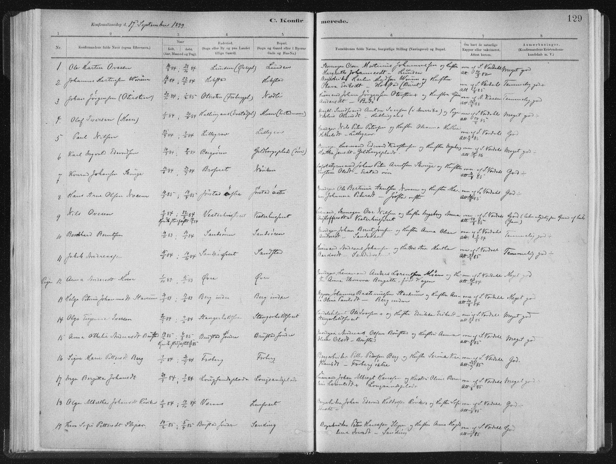 SAT, Ministerialprotokoller, klokkerbøker og fødselsregistre - Nord-Trøndelag, 722/L0220: Ministerialbok nr. 722A07, 1881-1908, s. 129