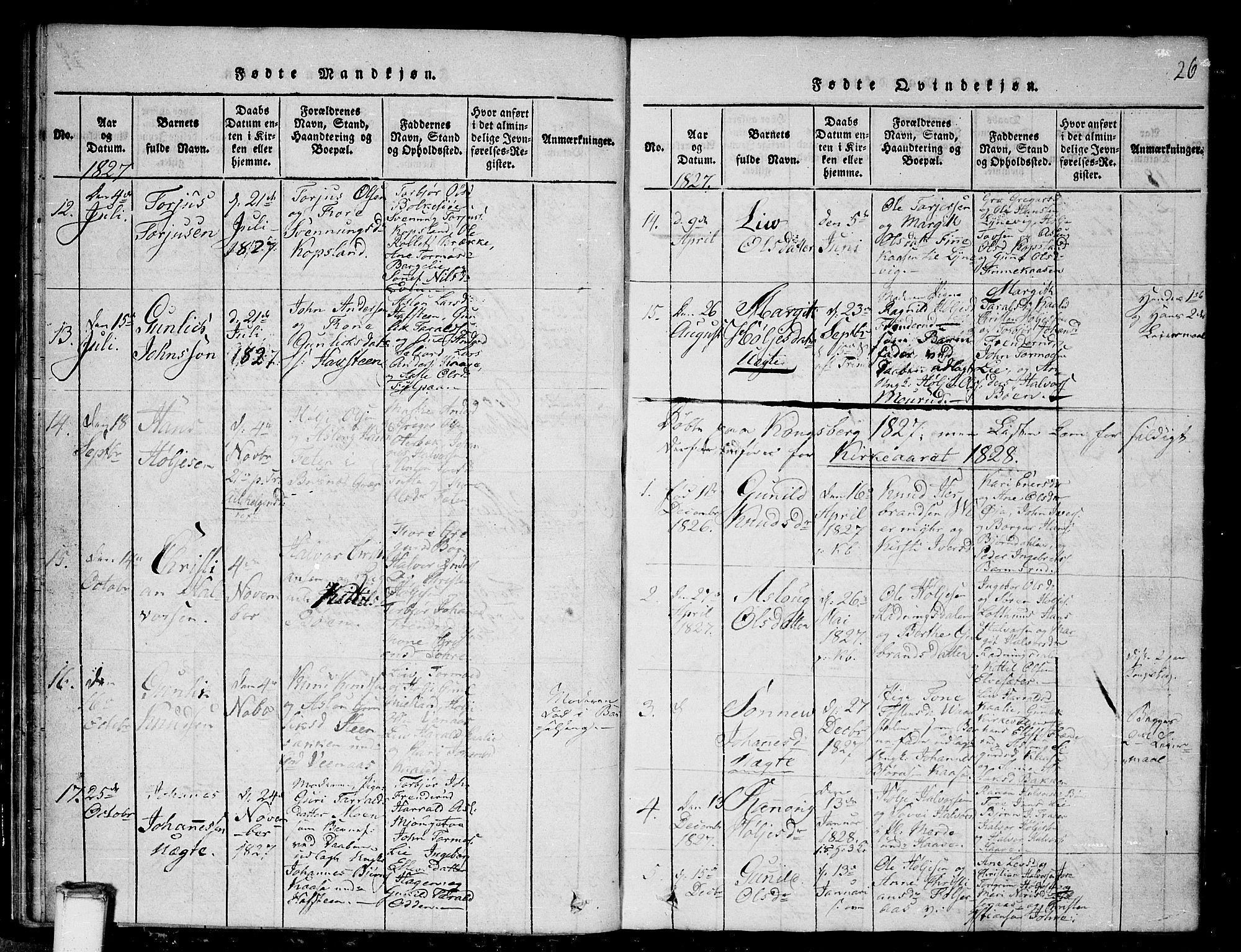 SAKO, Gransherad kirkebøker, G/Ga/L0001: Klokkerbok nr. I 1, 1815-1842, s. 26