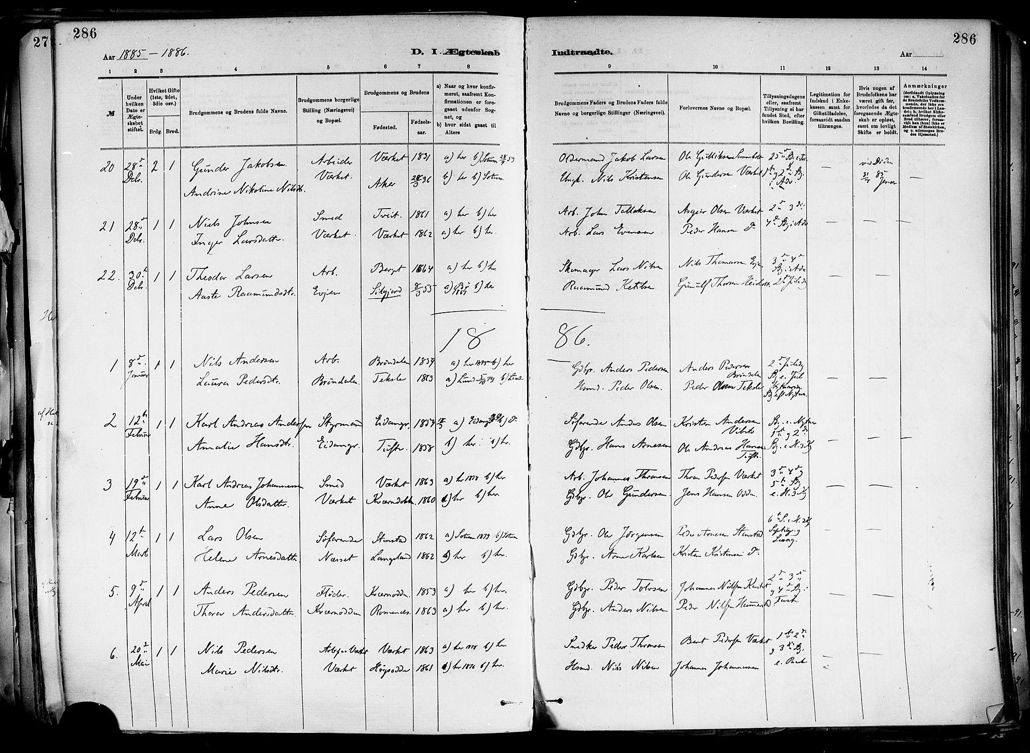 SAKO, Holla kirkebøker, F/Fa/L0008: Ministerialbok nr. 8, 1882-1897, s. 286