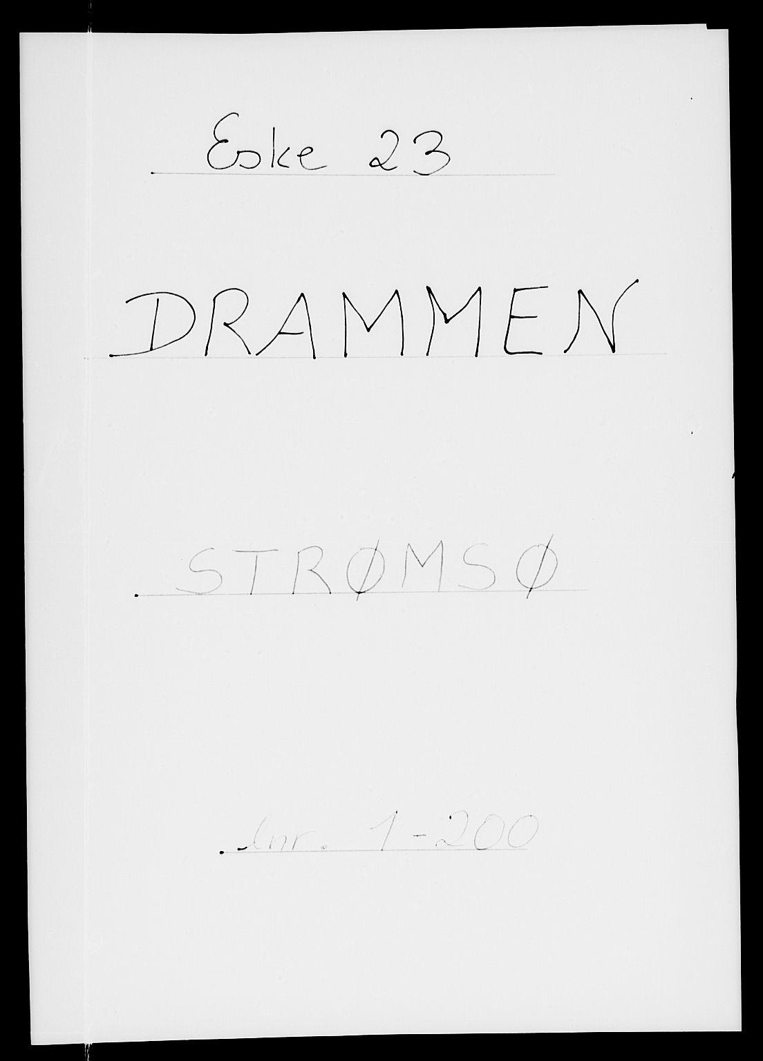 SAKO, Folketelling 1885 for 0602 Drammen kjøpstad, 1885, s. 1