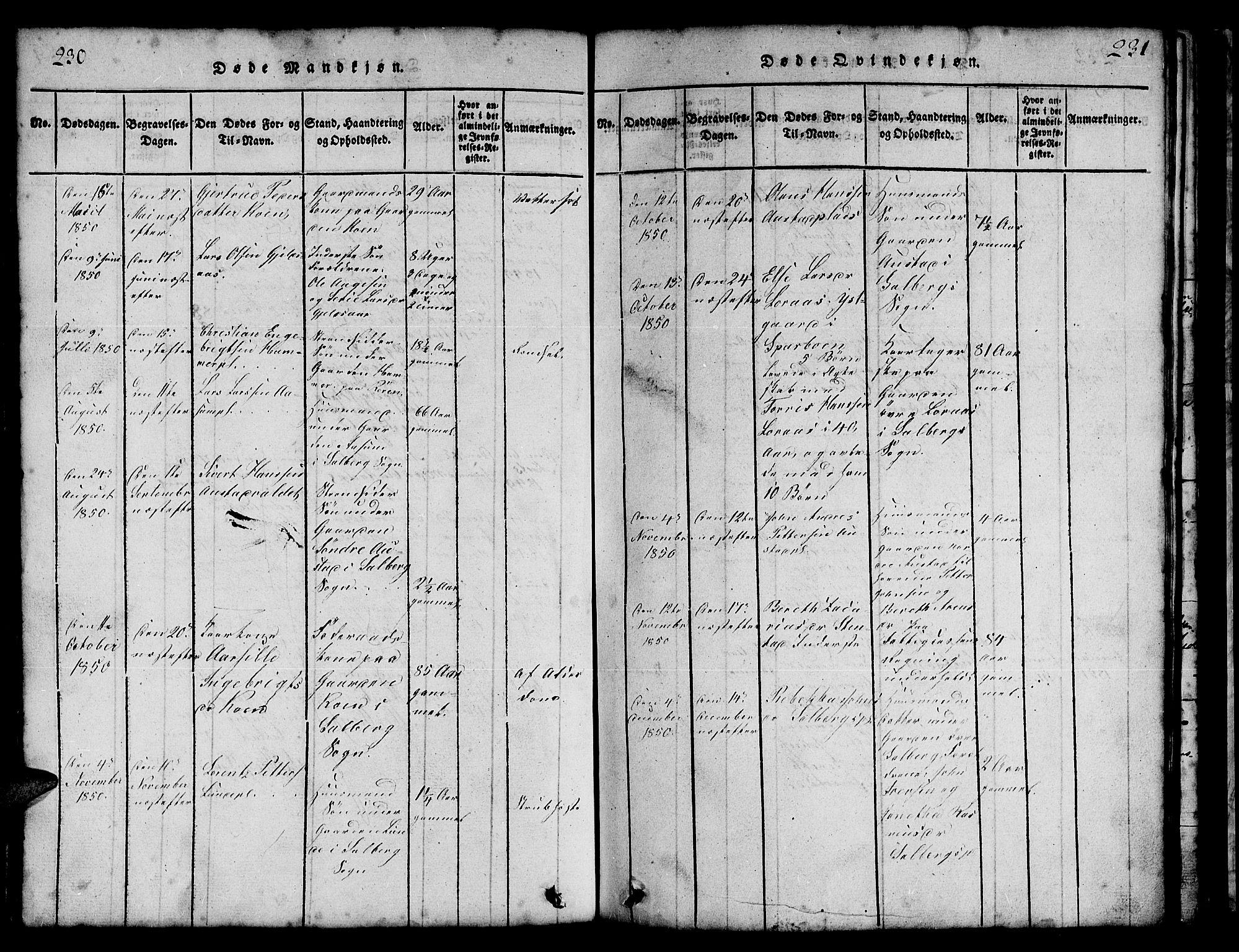 SAT, Ministerialprotokoller, klokkerbøker og fødselsregistre - Nord-Trøndelag, 731/L0310: Klokkerbok nr. 731C01, 1816-1874, s. 230-231